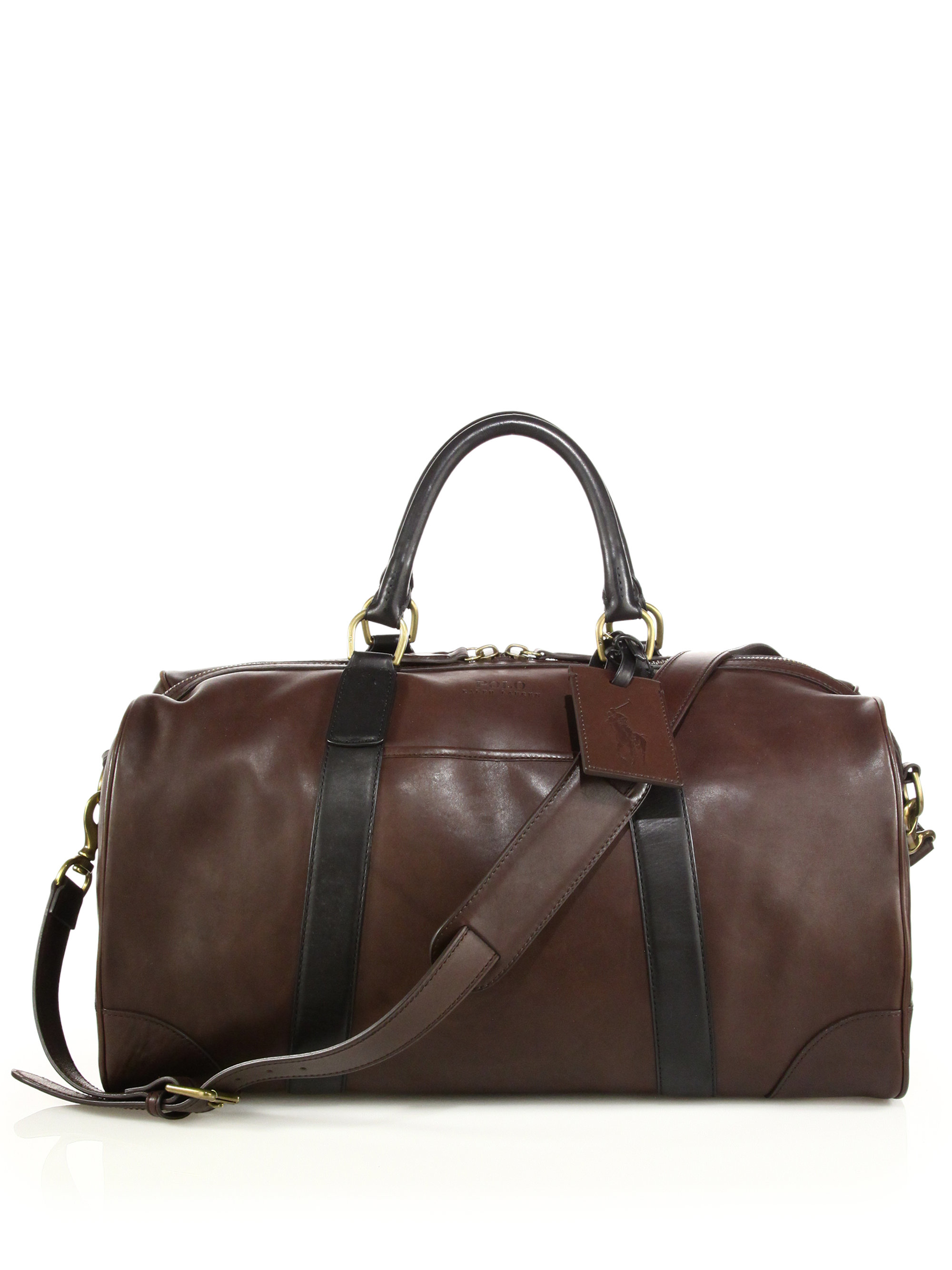polo ralph lauren leather duffel bag in brown for men lyst