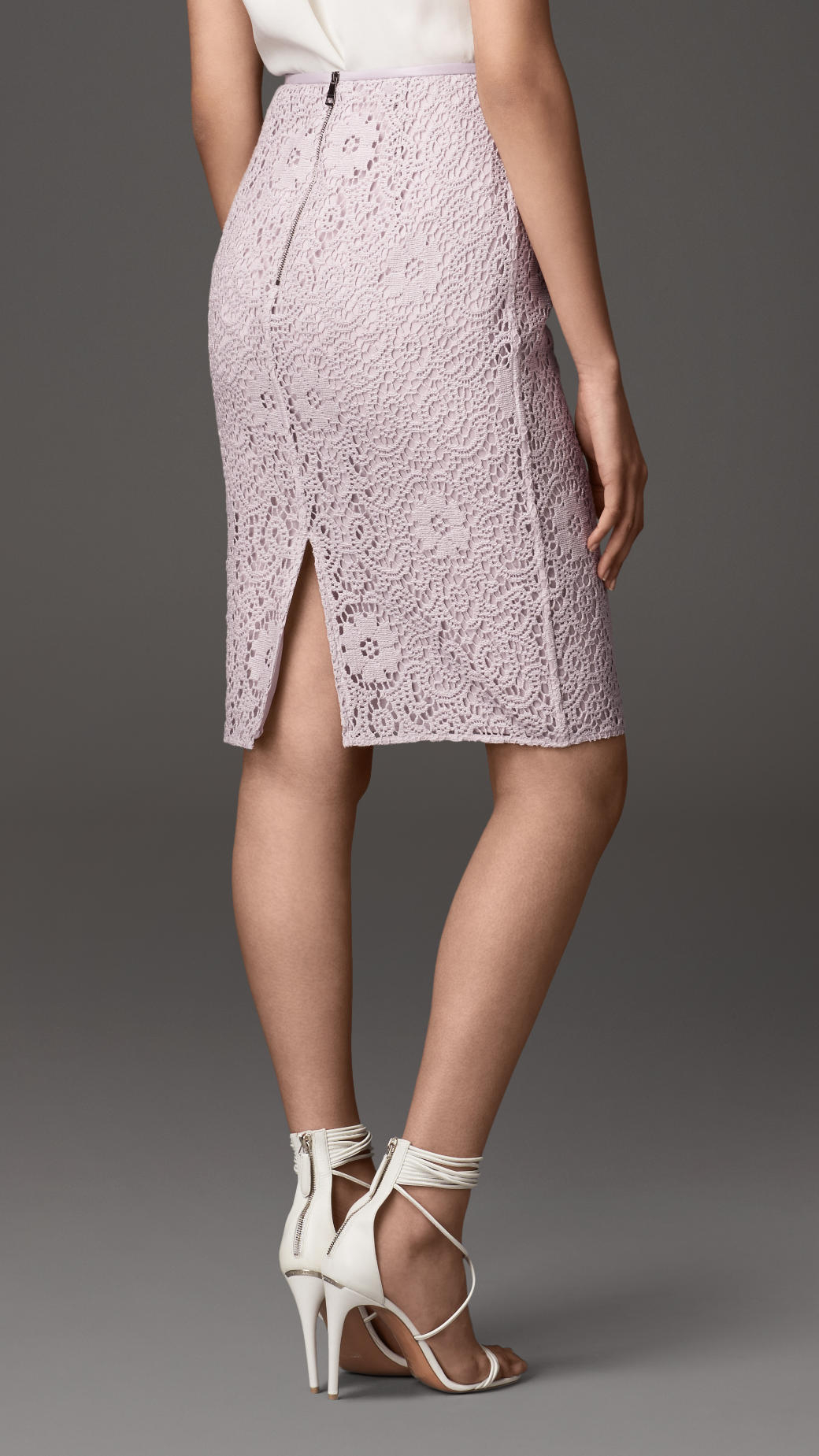 burberry crochet lace pencil skirt in pink lyst