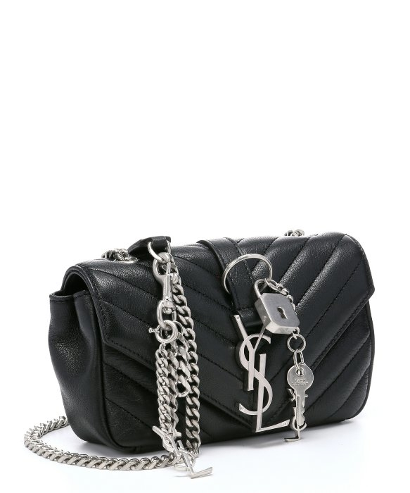 d9a761de33 Saint laurent Black Matelass   Leather  u0026 39 classic Baby Punk . monogram  college medium punk chains shoulder bag ...