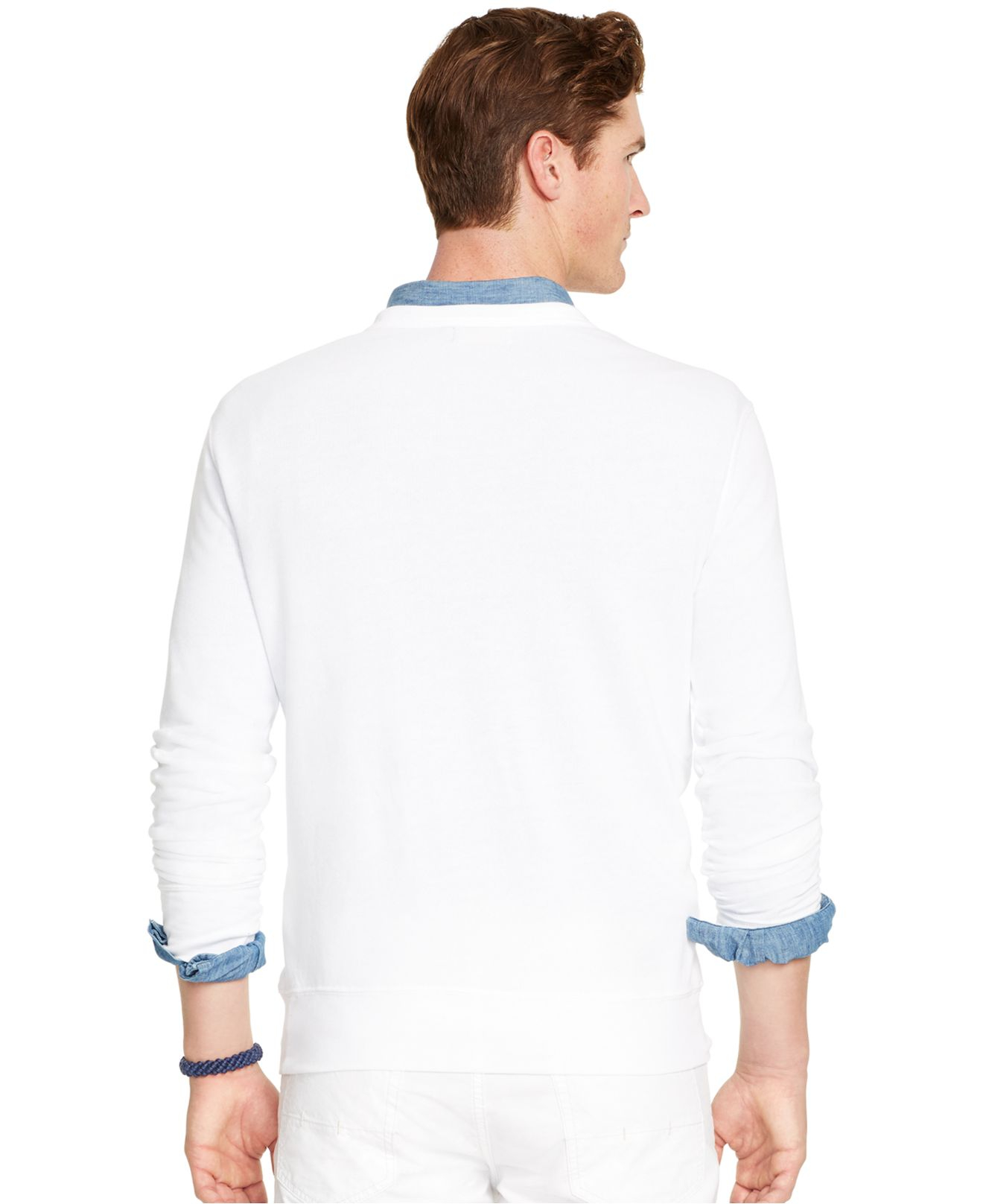 polo ralph lauren terry crew neck pullover in white for. Black Bedroom Furniture Sets. Home Design Ideas