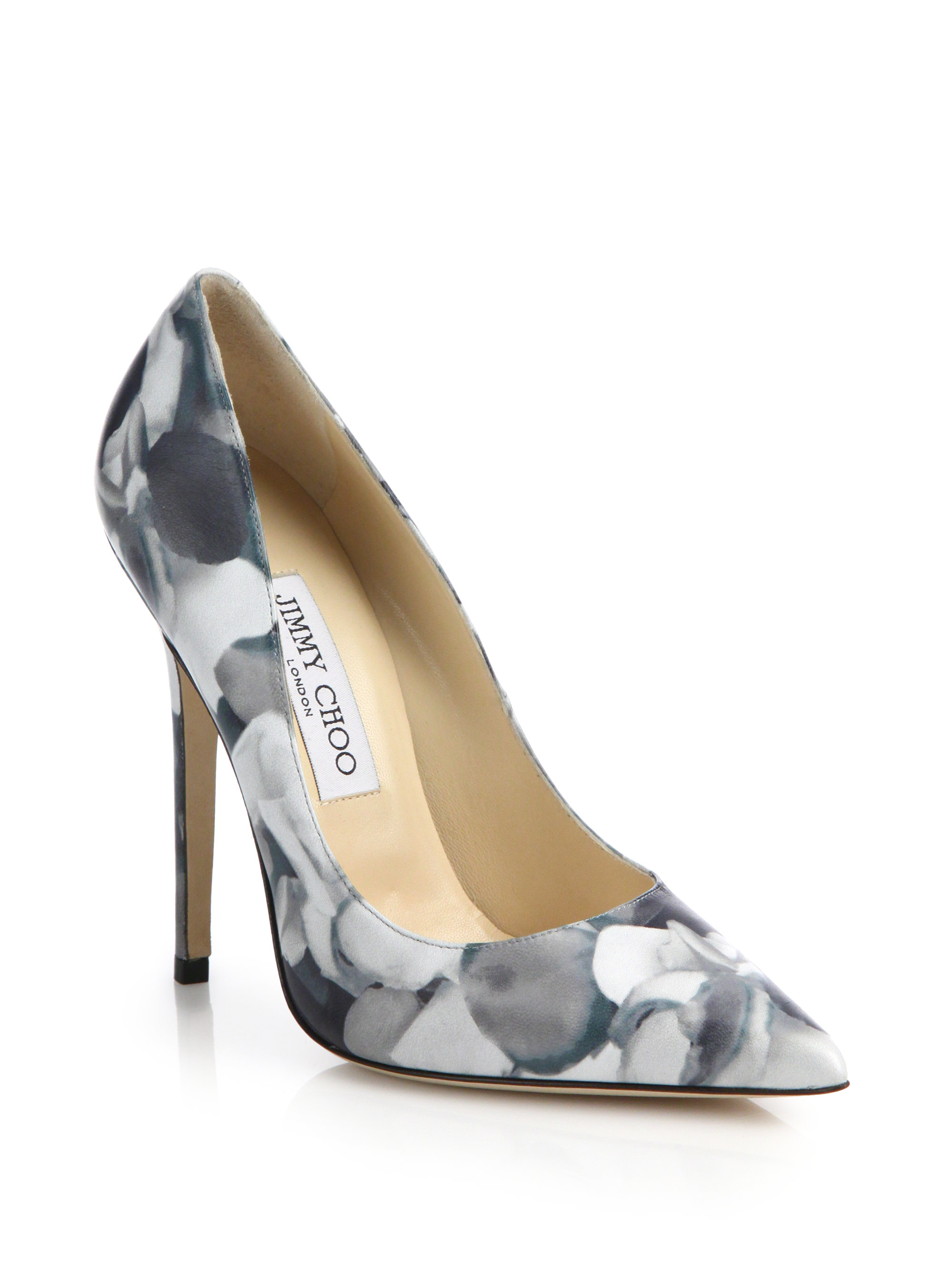 0e9f14be5e06 Jimmy choo Anouk Floral-print Leather Pumps in Blue