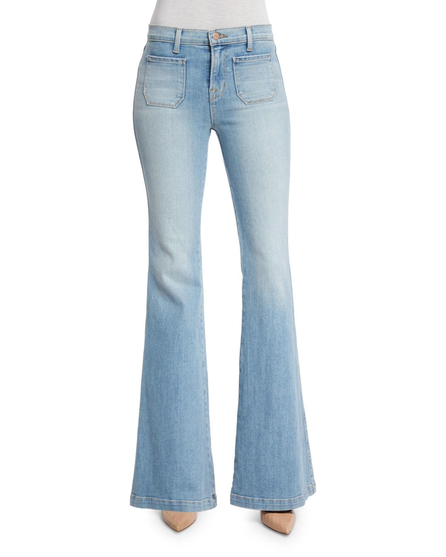 lyst j brand demi patch pocket flare leg jeans in blue. Black Bedroom Furniture Sets. Home Design Ideas