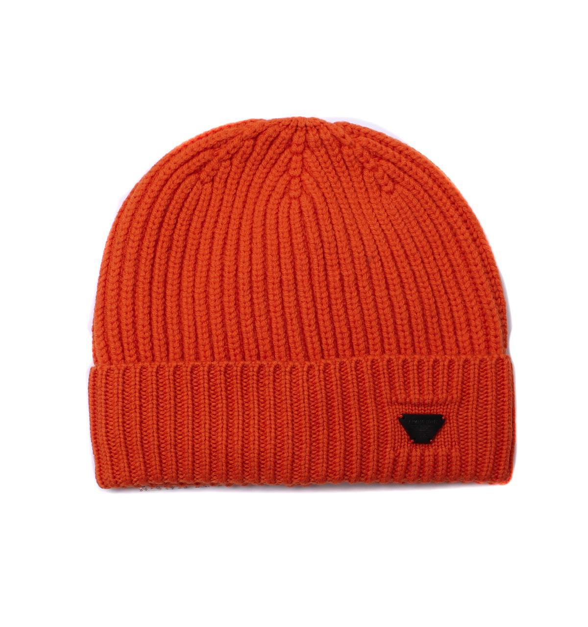 a0e5a168dec Armani Jeans Orange Woollen Rib Knit Beanie Hat in Orange for Men ...