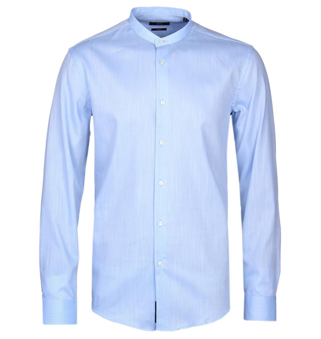 09faed9b6 Boss Slim Fit Pale Blue Grandad Collar Jordi Shirt in Blue for Men ...