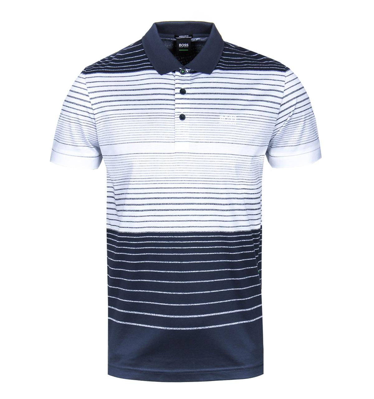 4d91ff0c7 BOSS Athleisure. Men's White Striped Paddy 3 Mercerised Cotton Polo Shirt