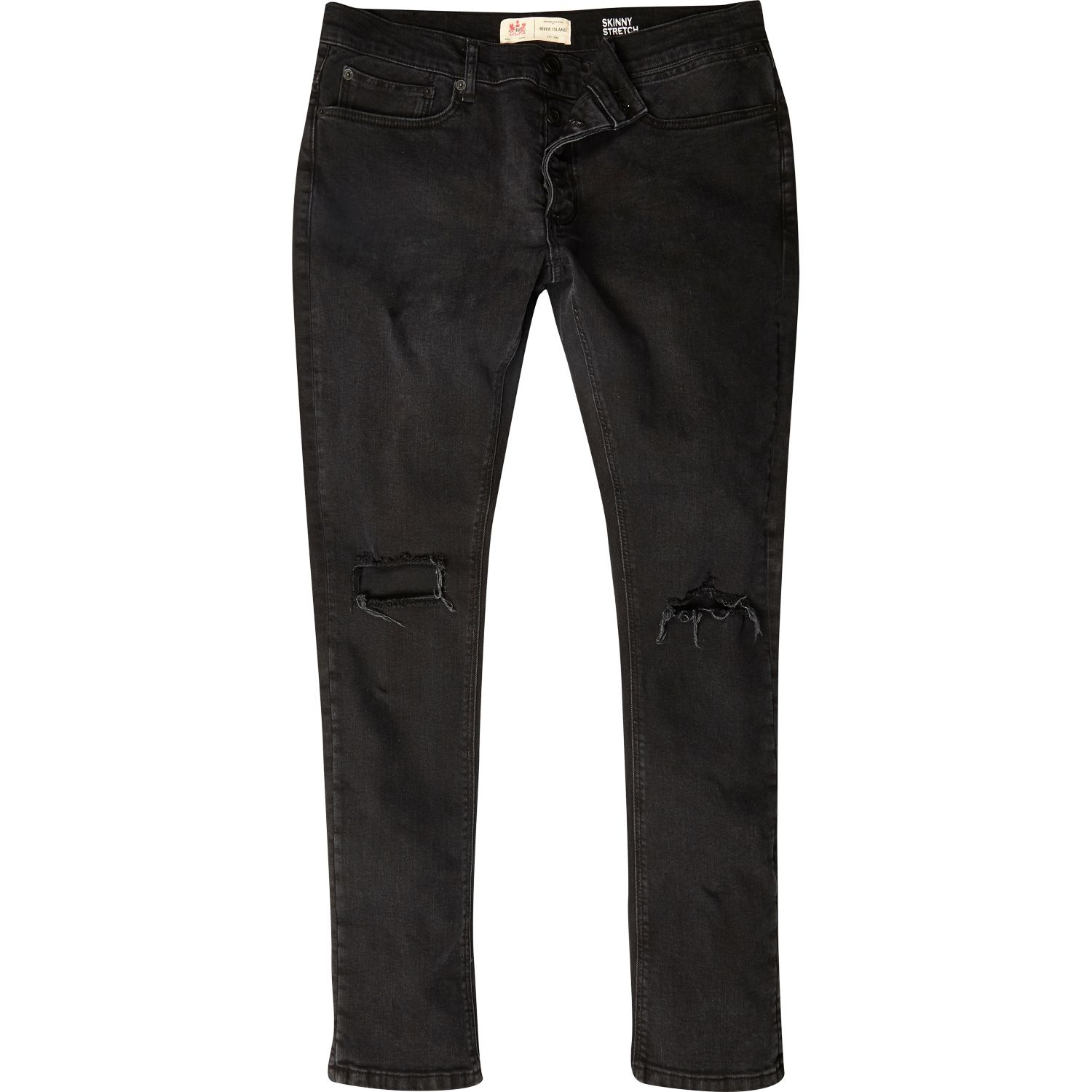 River island Black Ripped Sid Skinny Stretch Jeans in Black for ...