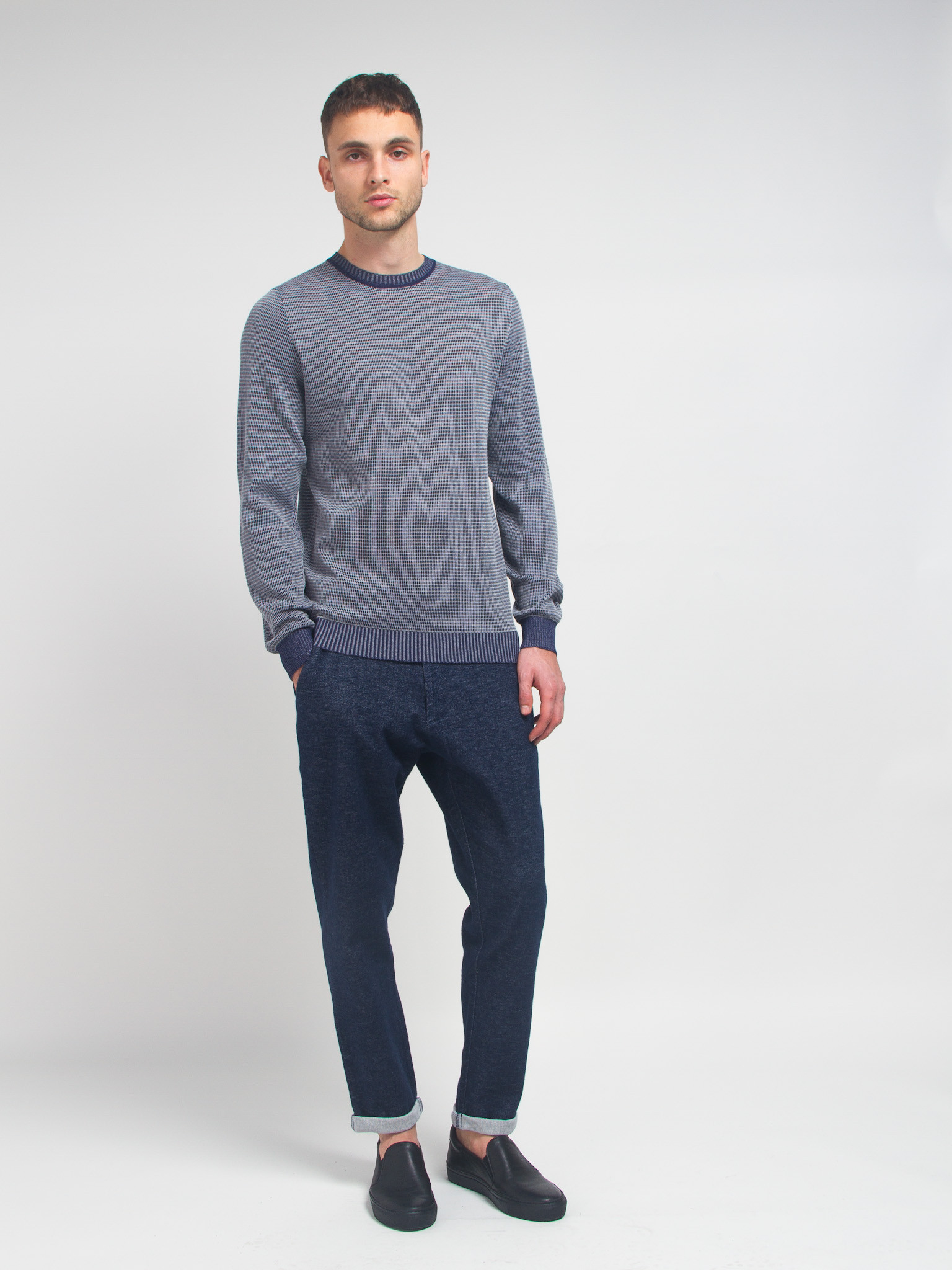 lucio castro grey reversible sweater in blue for lyst