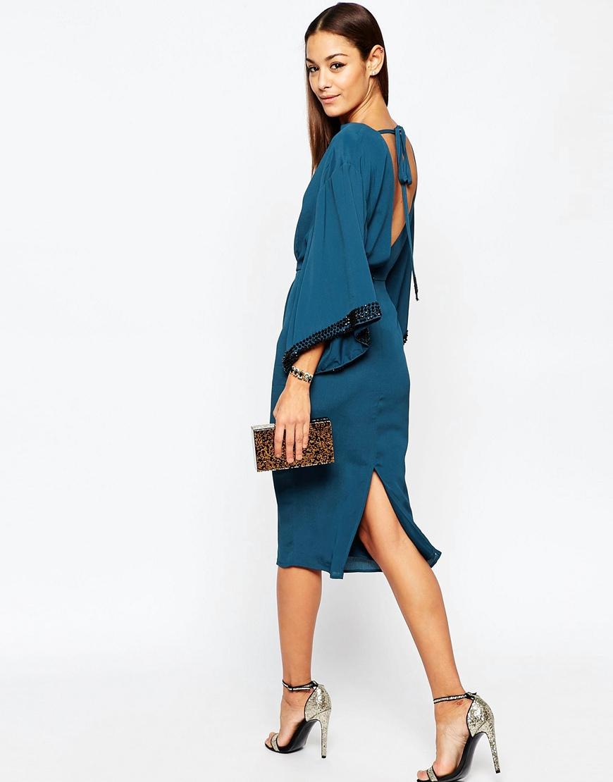 7cf23b89202 Lyst - ASOS Embellished Trim Kimono Midi Dress in Blue