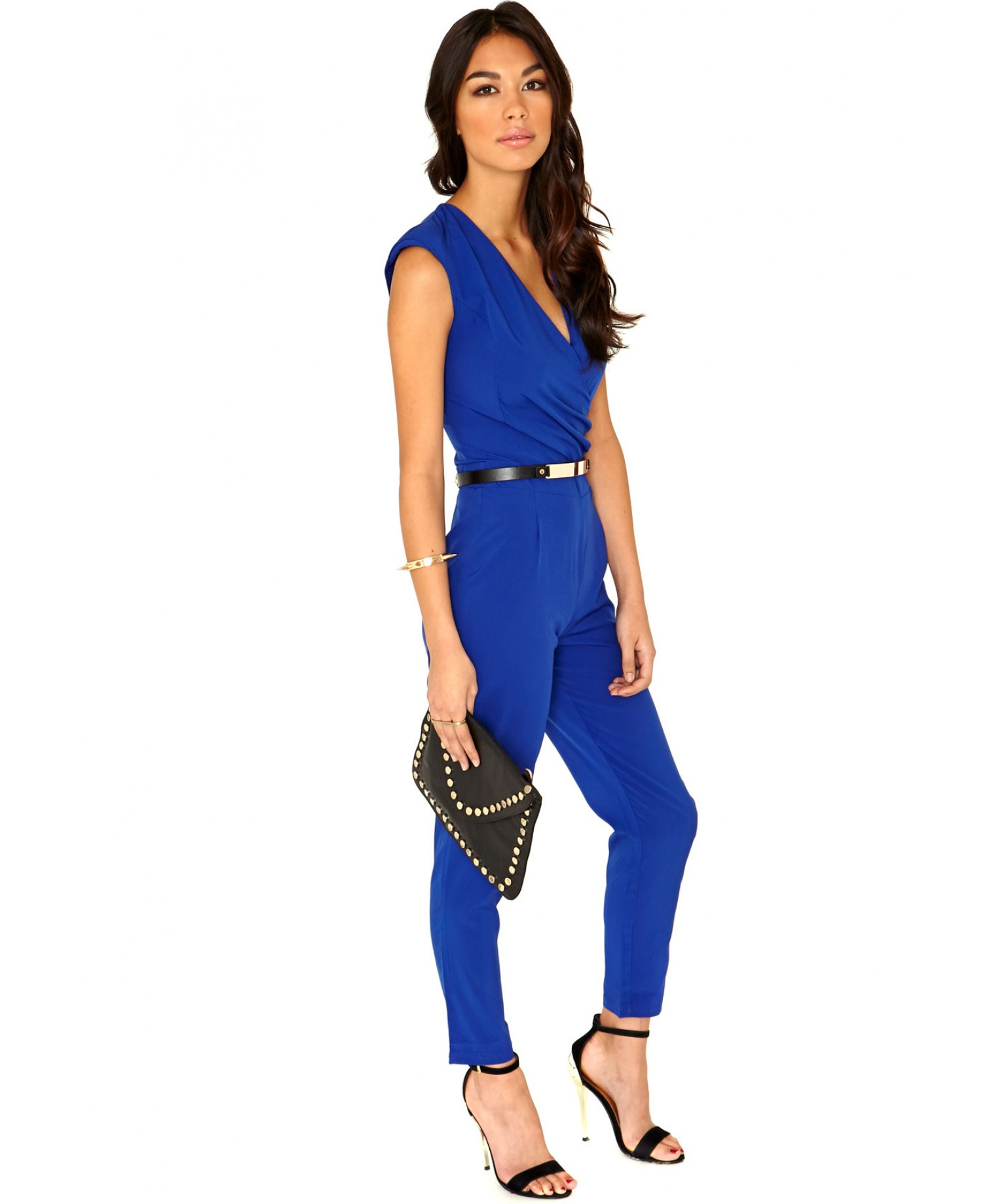 Missguided Jerma Crossover Tailored Jumpsuit In Cobalt Blue in ...