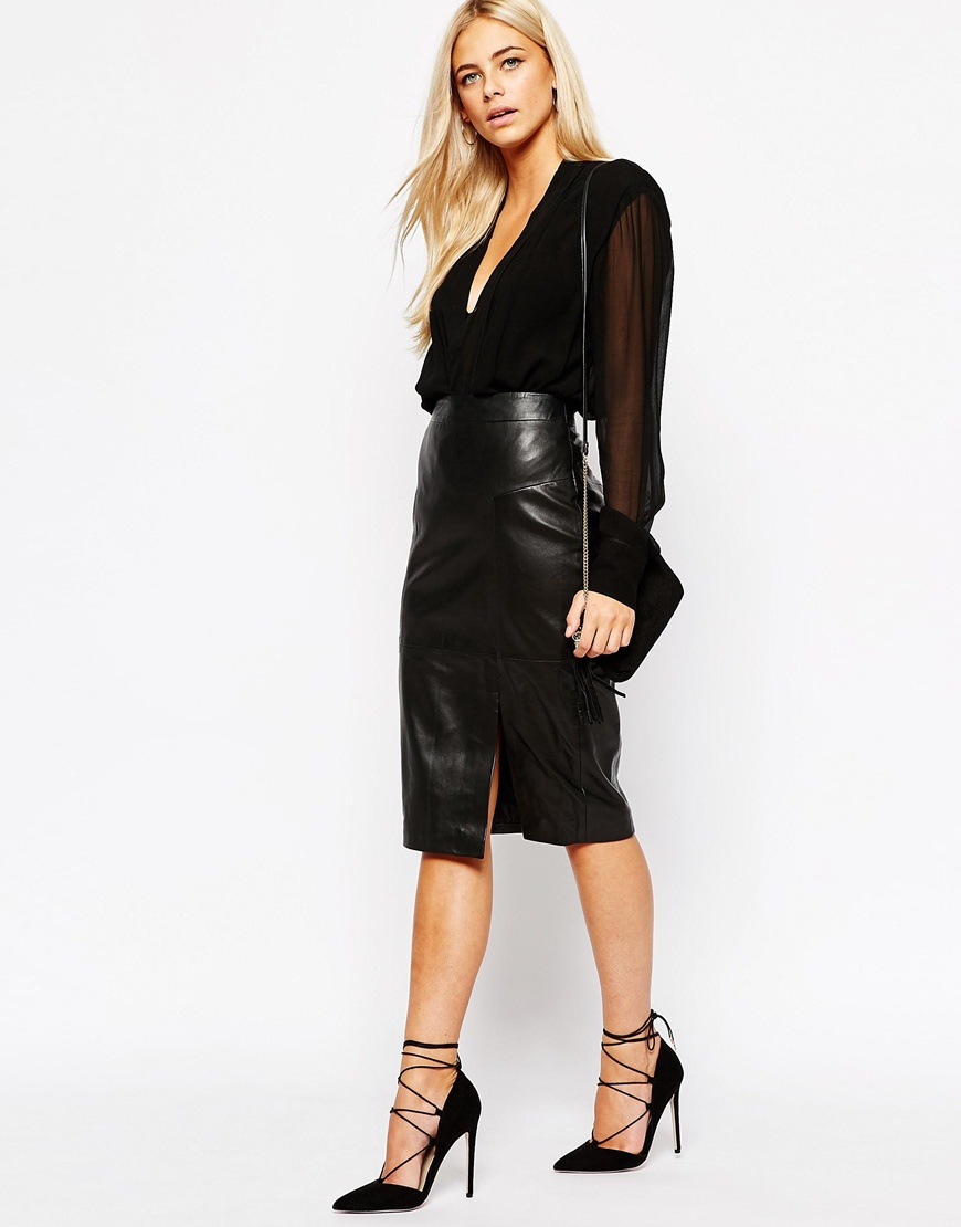 Oasis Real Leather Pencil Skirt in Black | Lyst