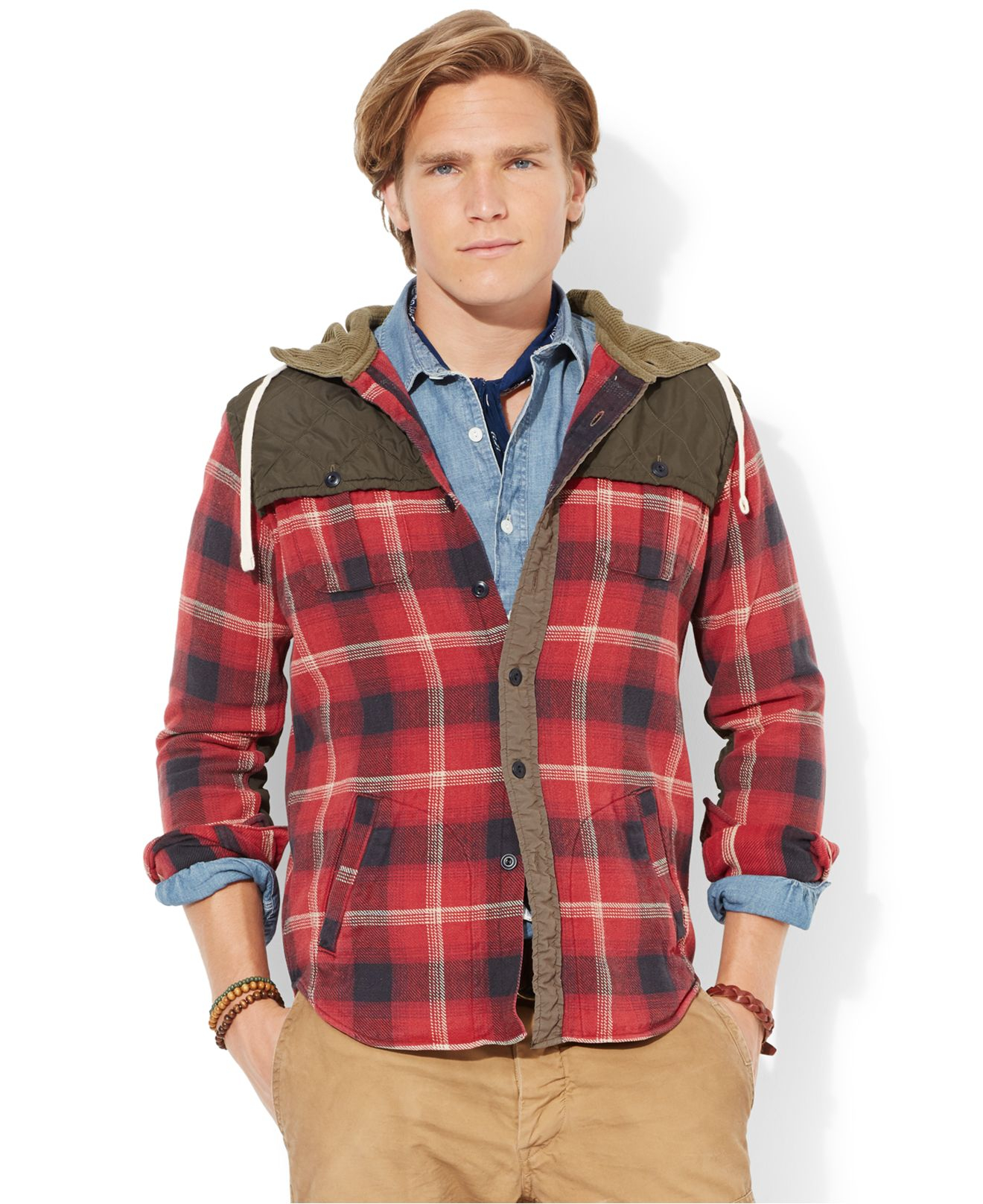 0d3c7e96d ... promo code for lyst polo ralph lauren plaid workshirt hoodie in red for  men 055e9 726fb