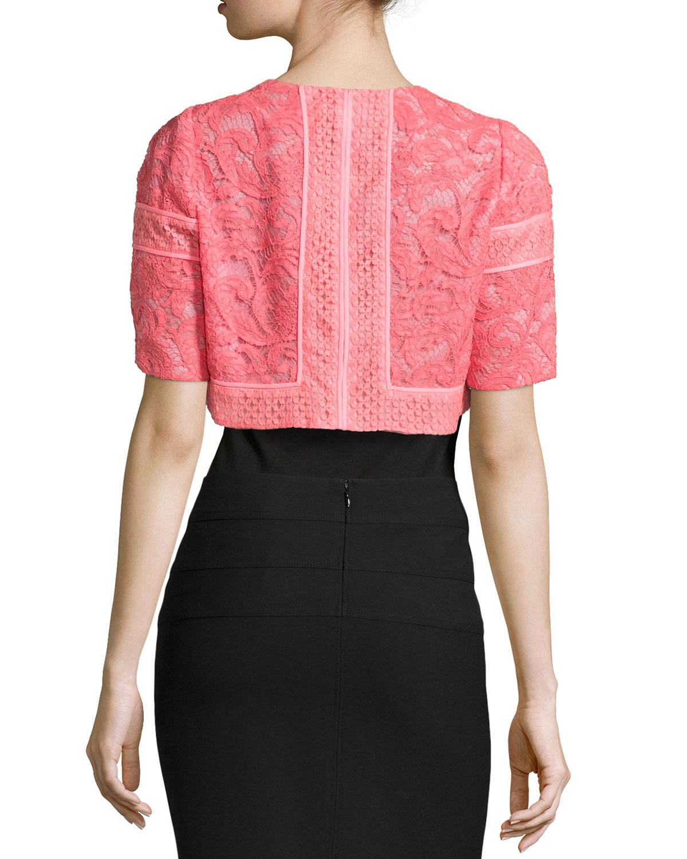 J. mendel Lace Cropped Jacket in Pink | Lyst