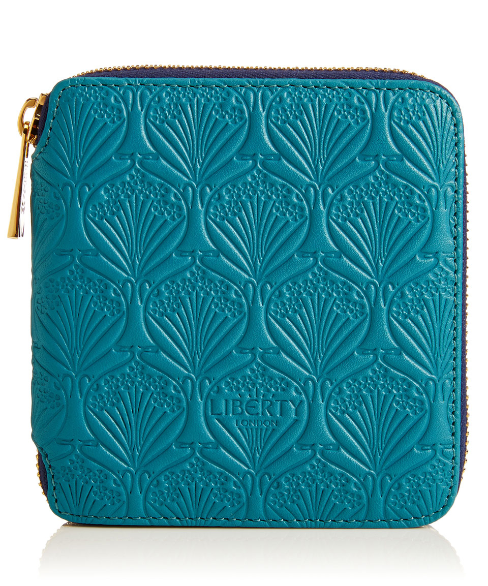 Lyst Liberty Small Teal Iphis Leather Zip Around Wallet In Blue Of London Wallets