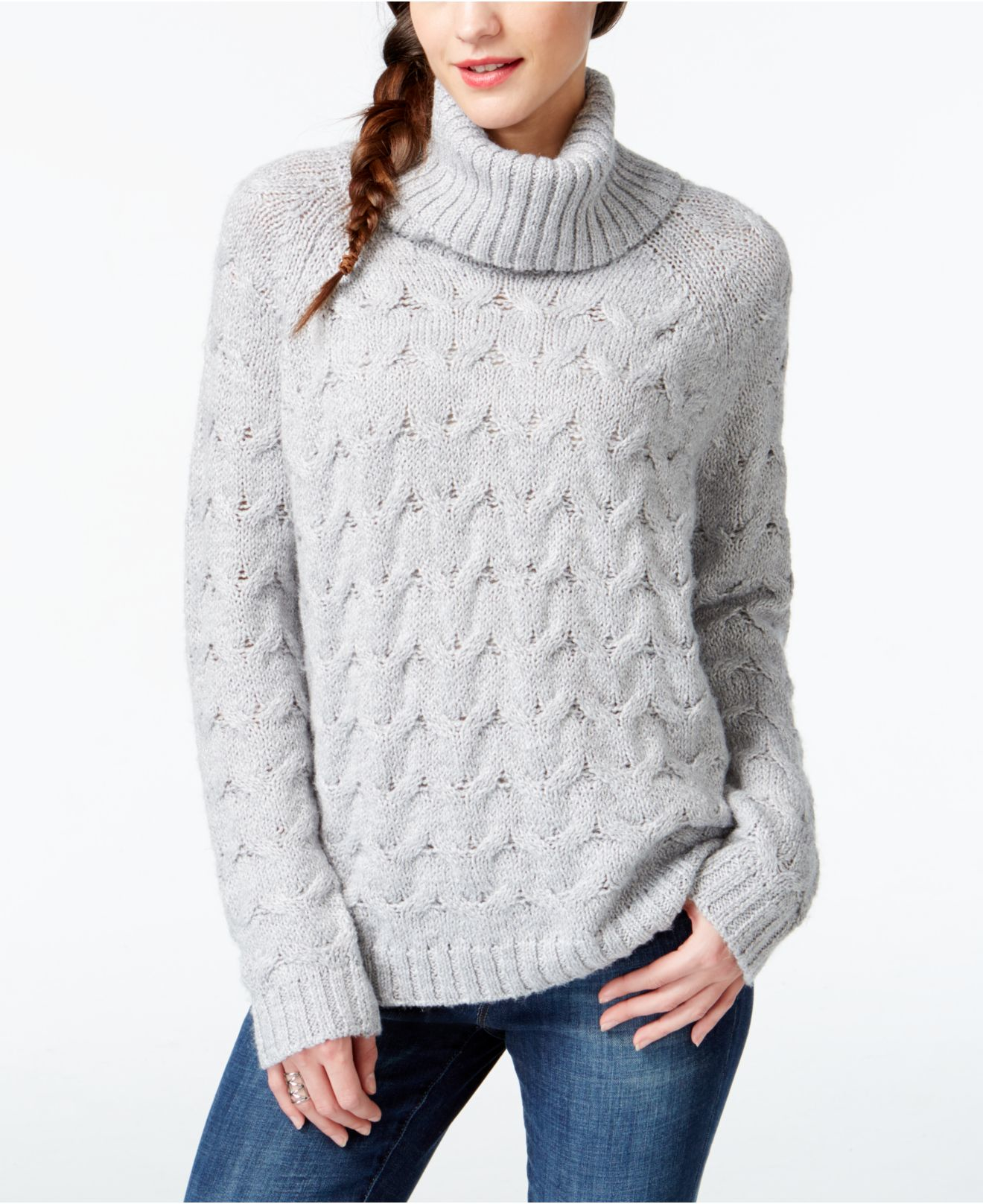 G.h. bass & co. Cable-knit Turtleneck Sweater in Gray | Lyst