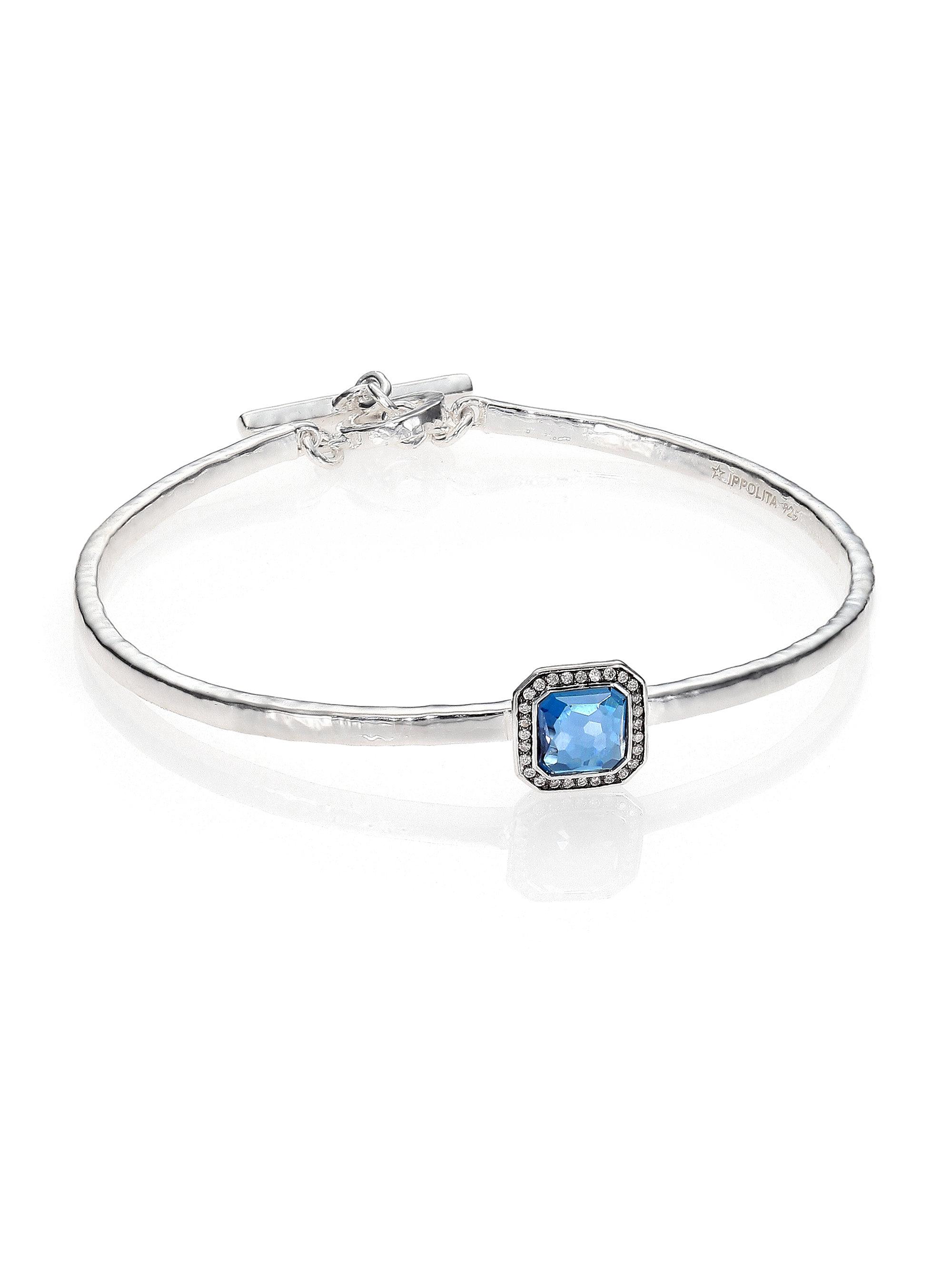 Ippolita Stella Sterling Silver Bangle in Blue Topaz with Diamonds s7zaeG3