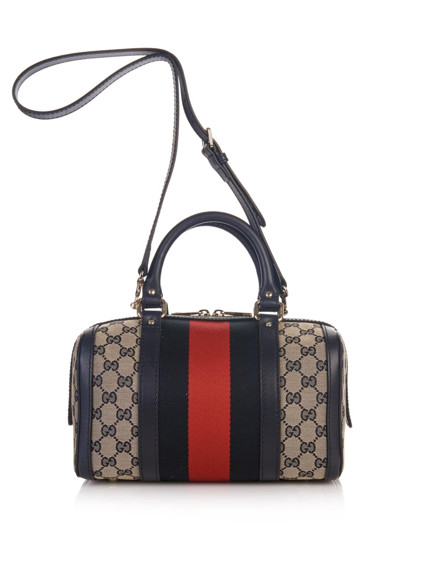8803aae10a8a Gucci Vintage Web Gg Canvas Mini Bowling Bag in Gray - Lyst