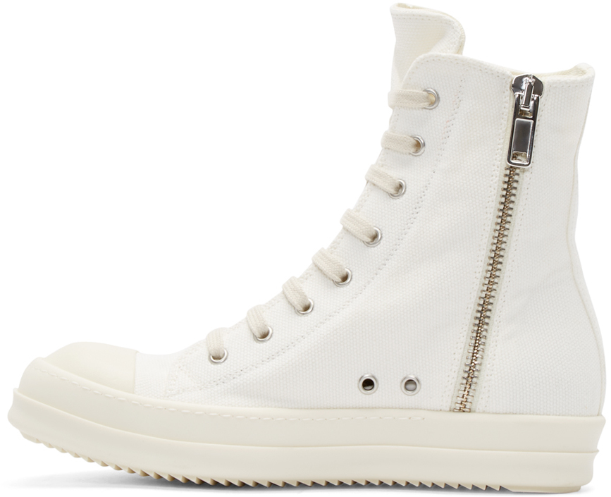 drkshdw by rick owens white canvas high top sneakers in