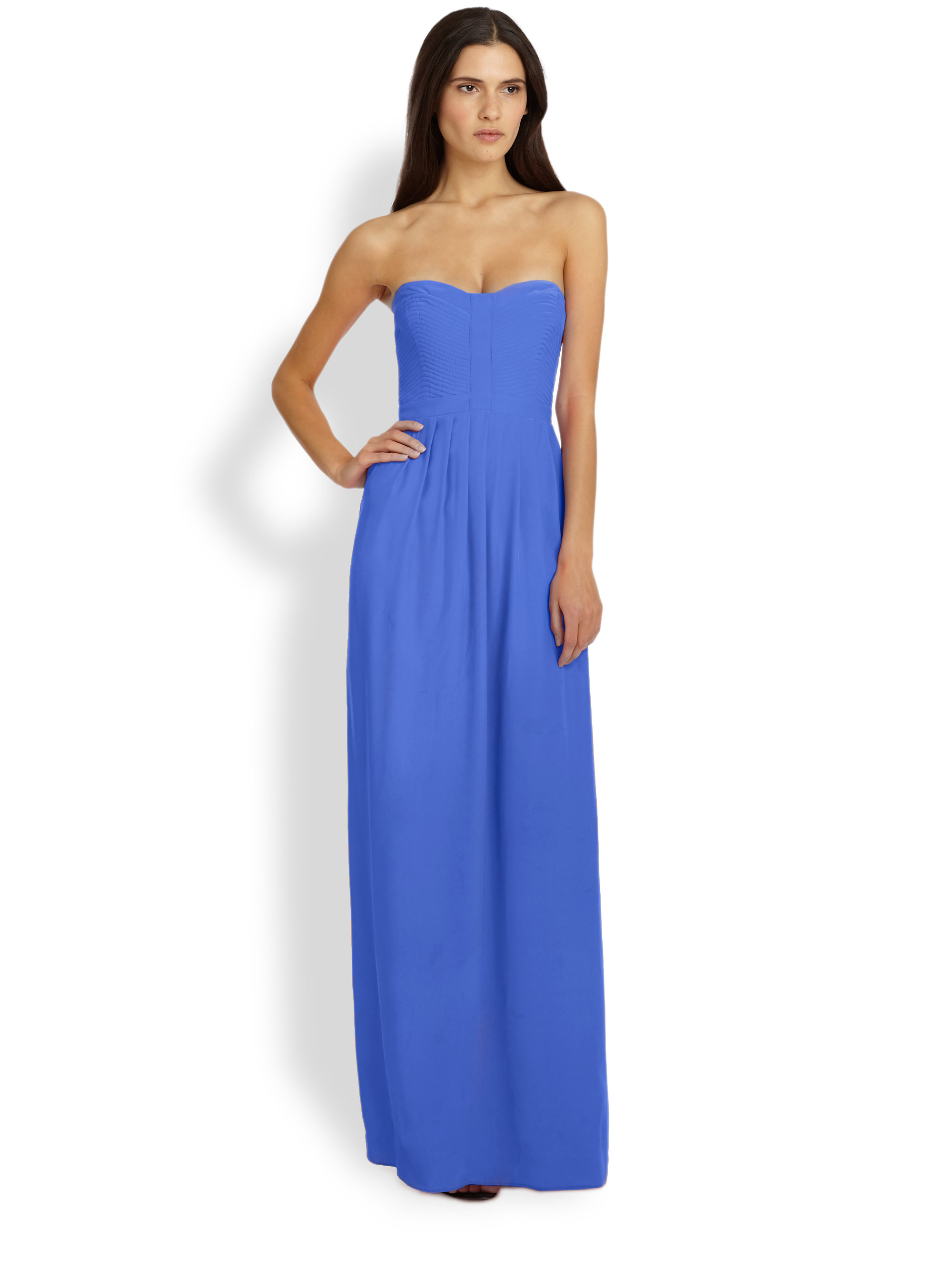 Parker Bayou Silk Strapless Maxi Dress in Blue | Lyst