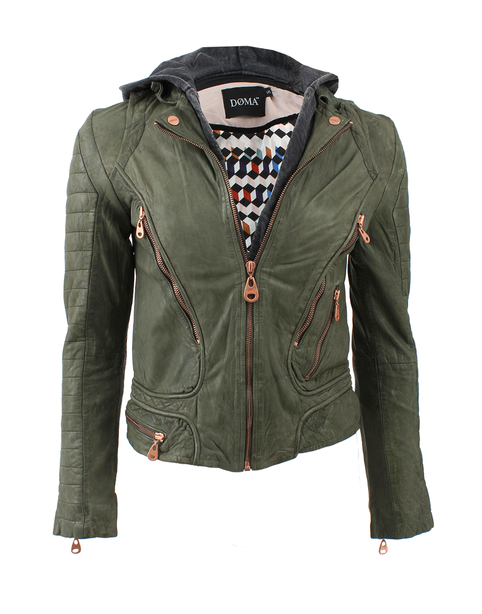 Lyst - Doma leather Leather Jacket with Detachable Hood in ...