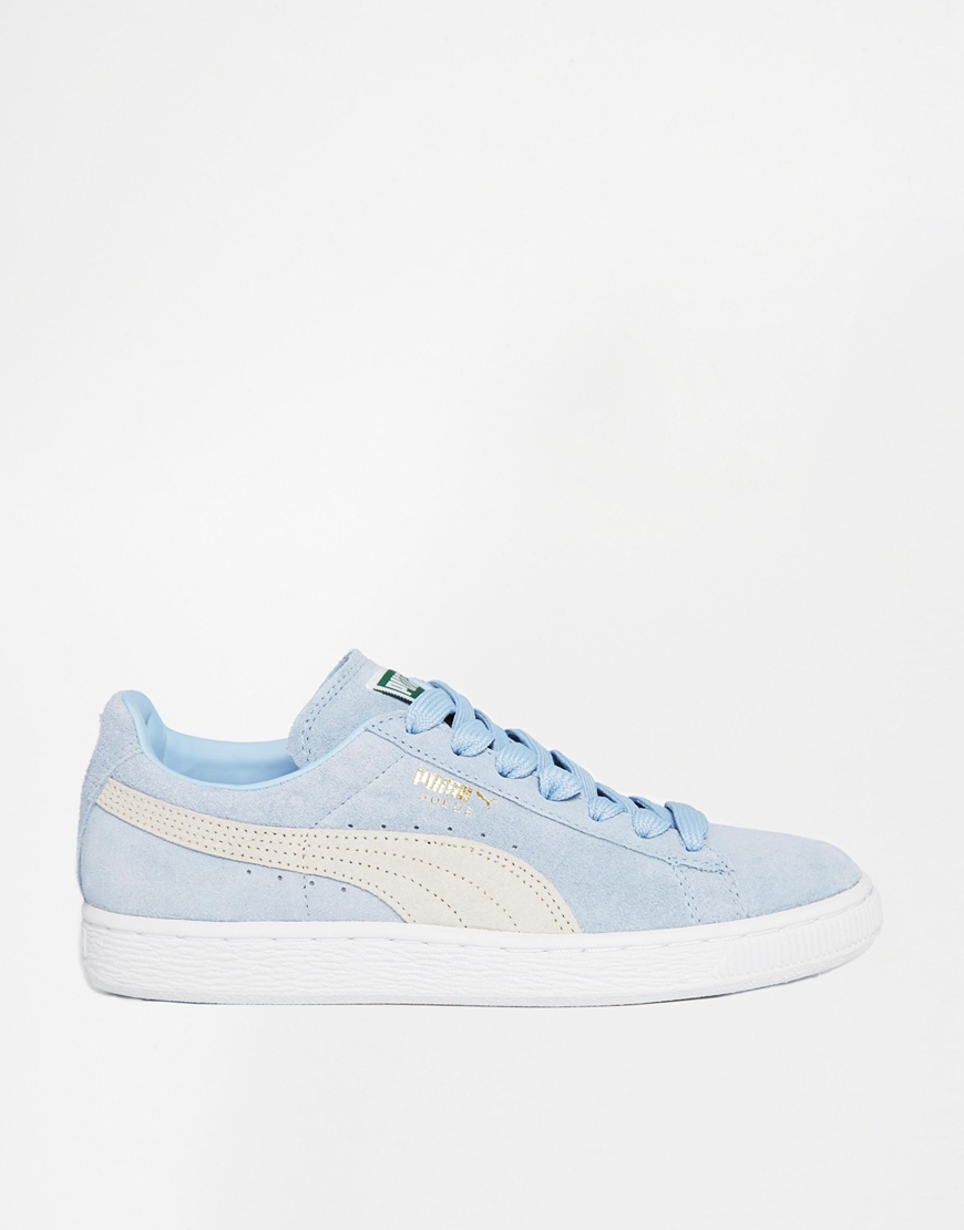 puma suede classic powder blue trainers in blue lyst. Black Bedroom Furniture Sets. Home Design Ideas