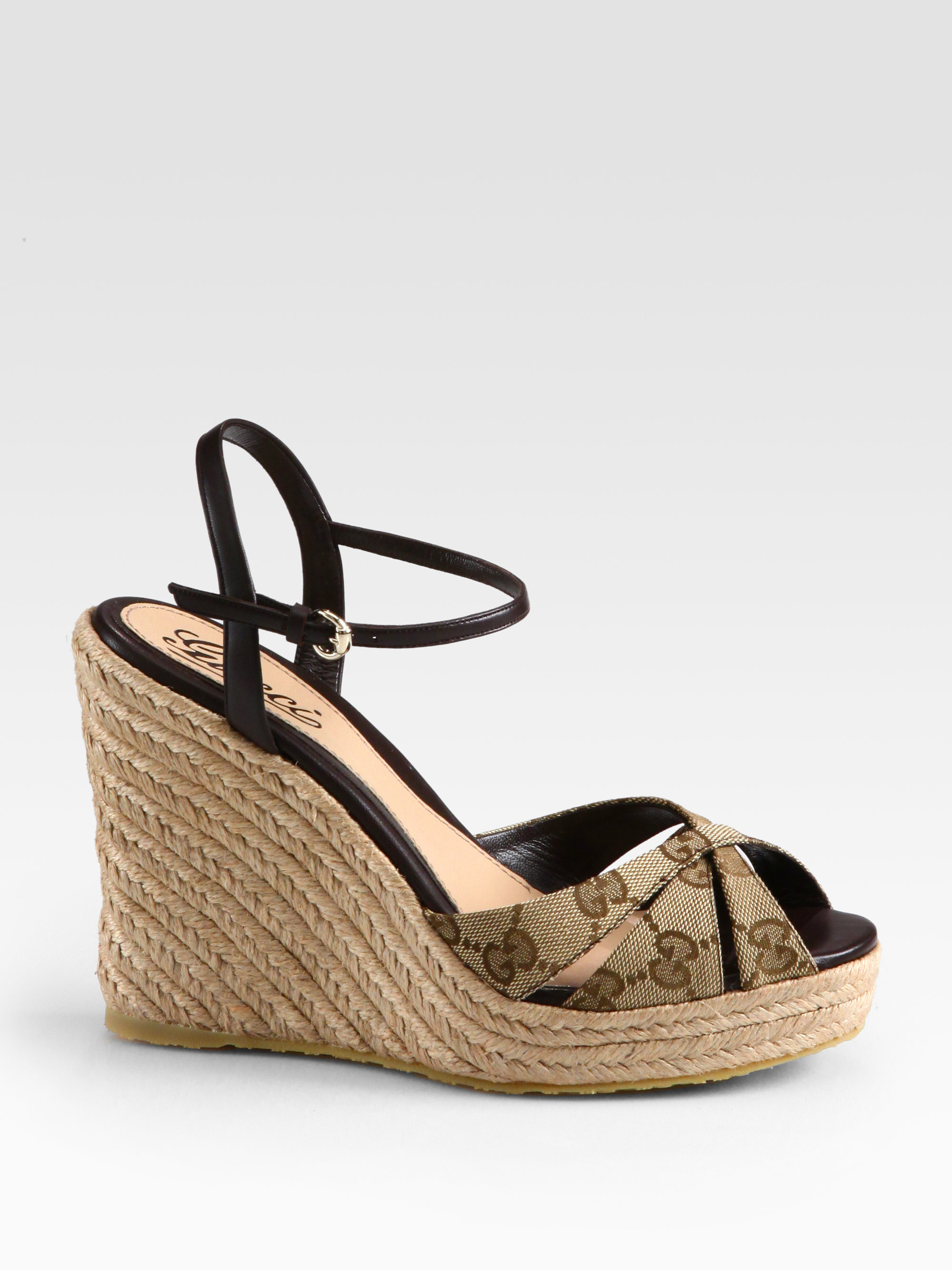 Gucci Penelope Gg Canvas Espadrille Wedges In Black Lyst