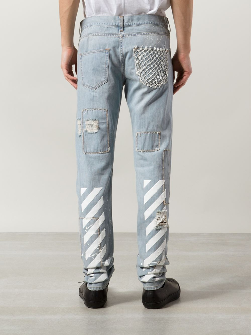 Off-white c/o virgil abloh Printed Distressed Jeans in Blue for ...