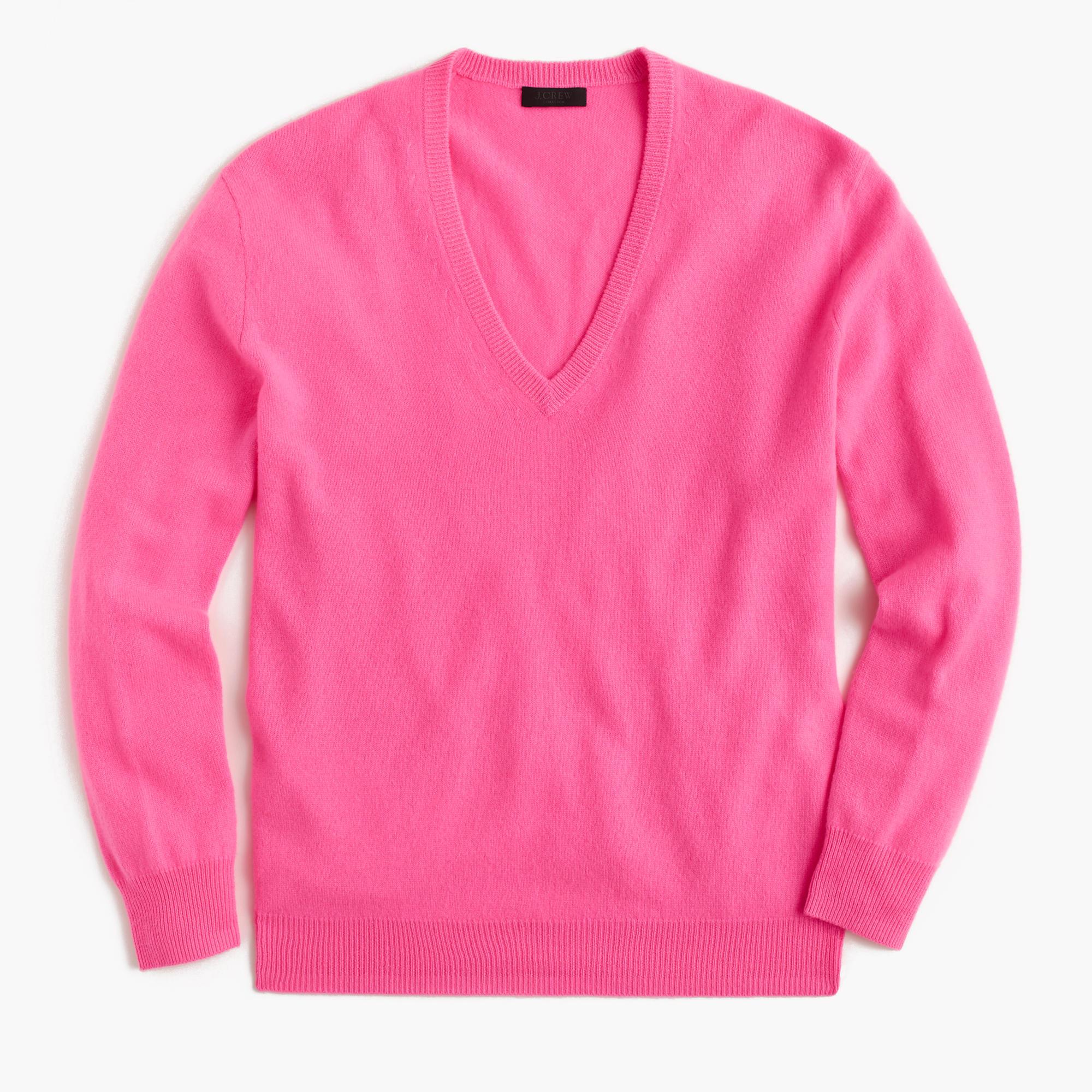 J.crew Italian Cashmere Boyfriend V-neck Sweater in Pink | Lyst
