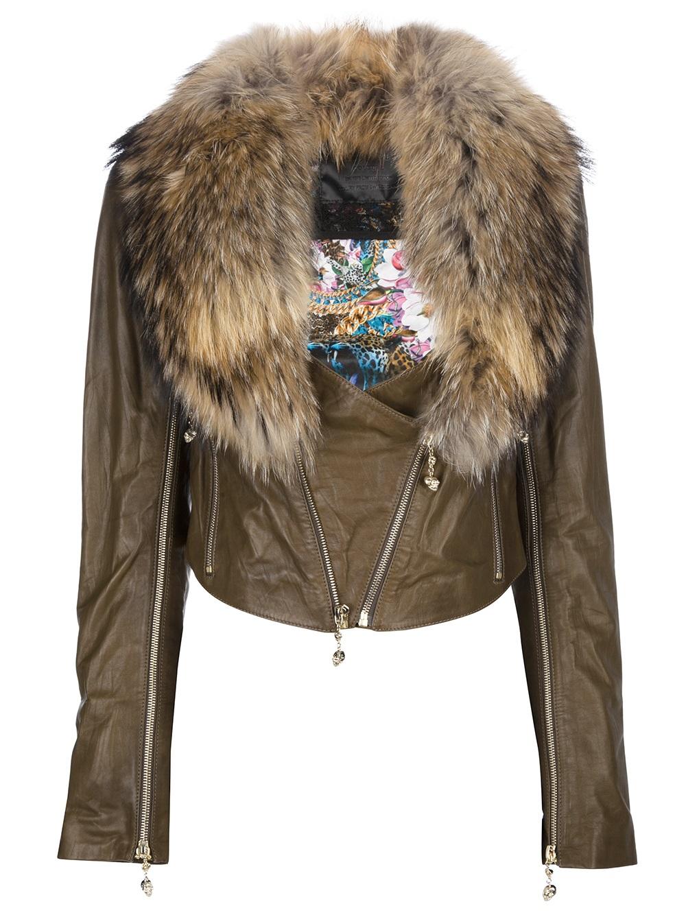 Lyst Philipp Plein Racoon Collar Jacket In Brown