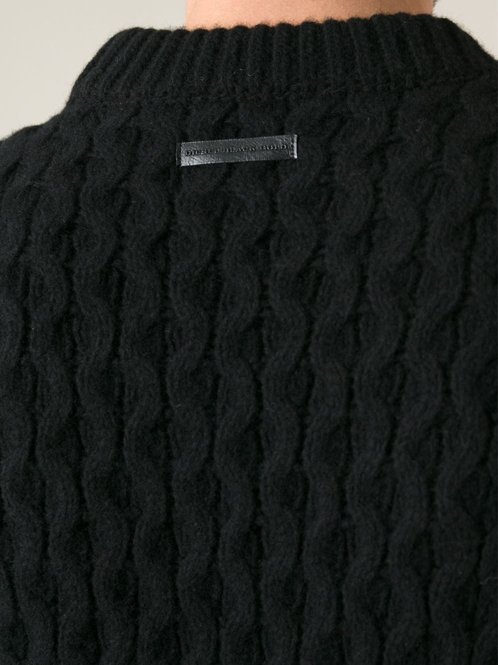 Diesel Cable Knit Sweater in Black for Men | Lyst