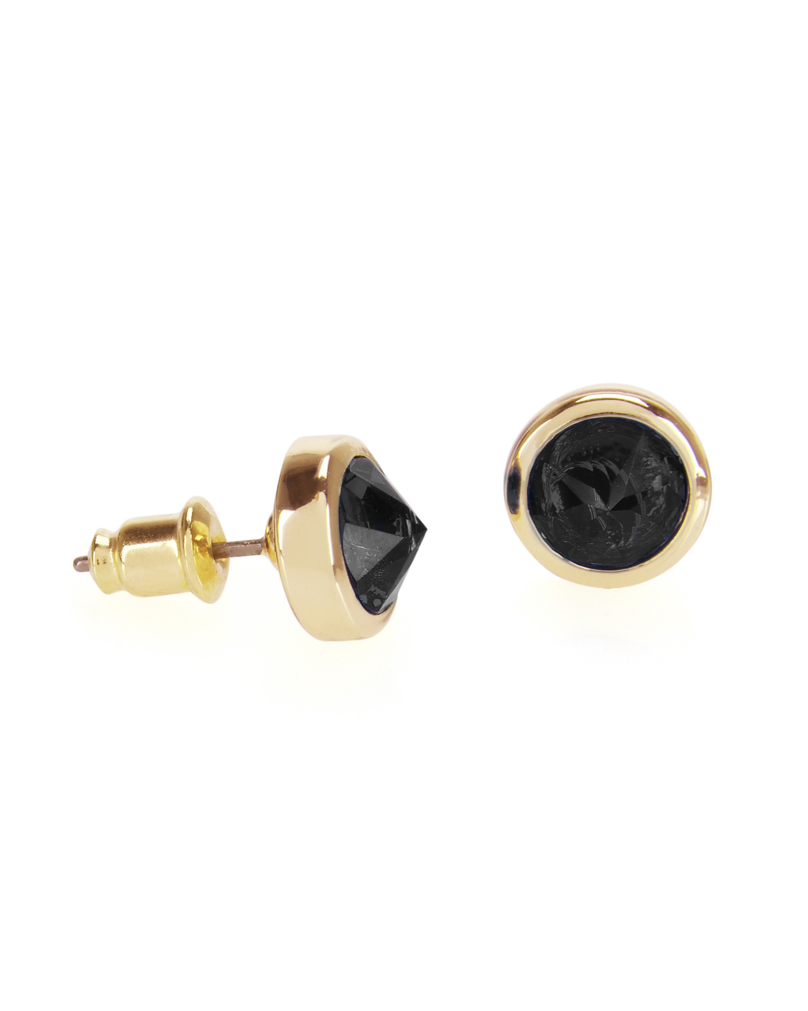 swan metal stud chanel l swarovski cc earrings black crystal with iconic