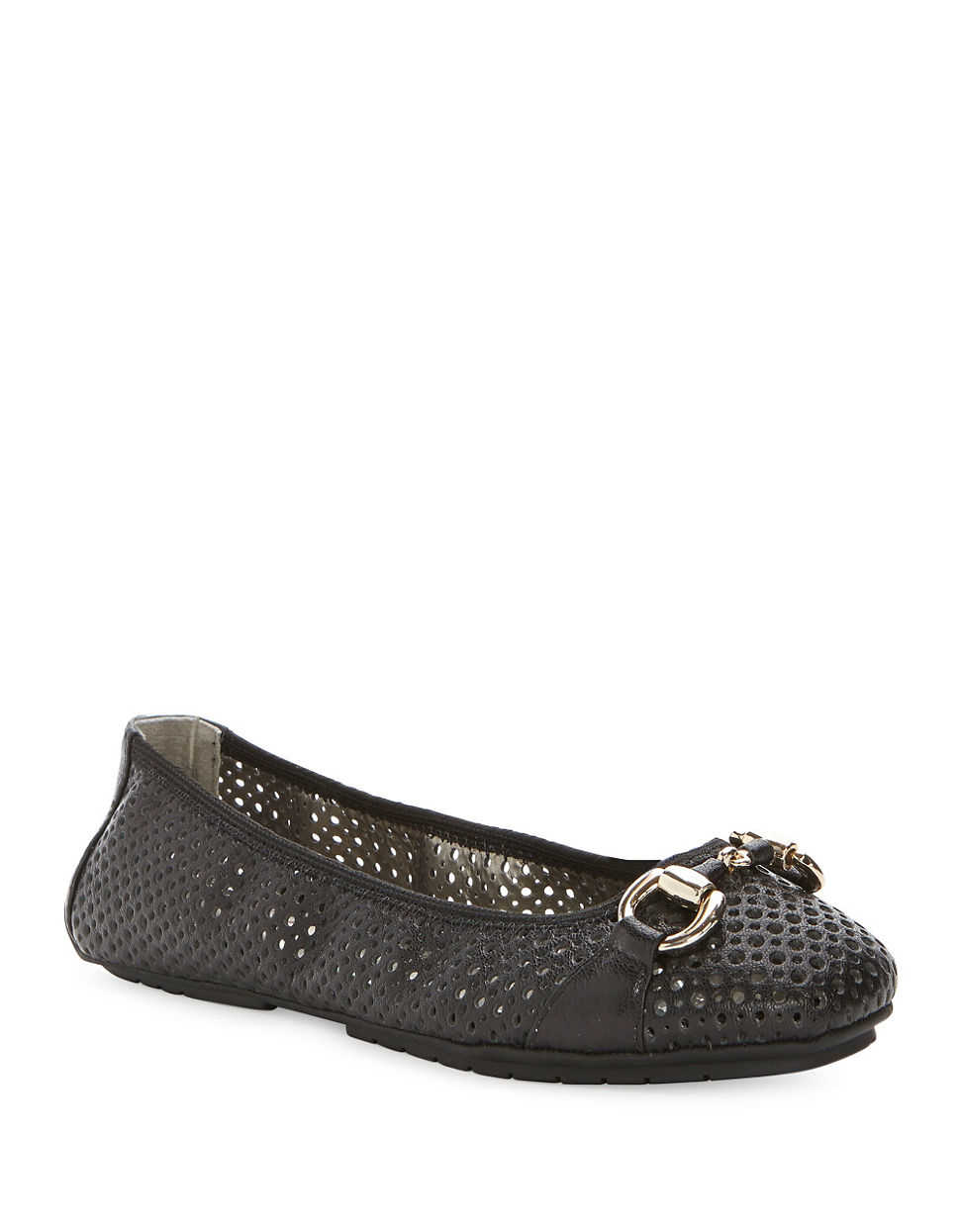 Lyst Me Too Lacey Leather Perforated Flats In Black
