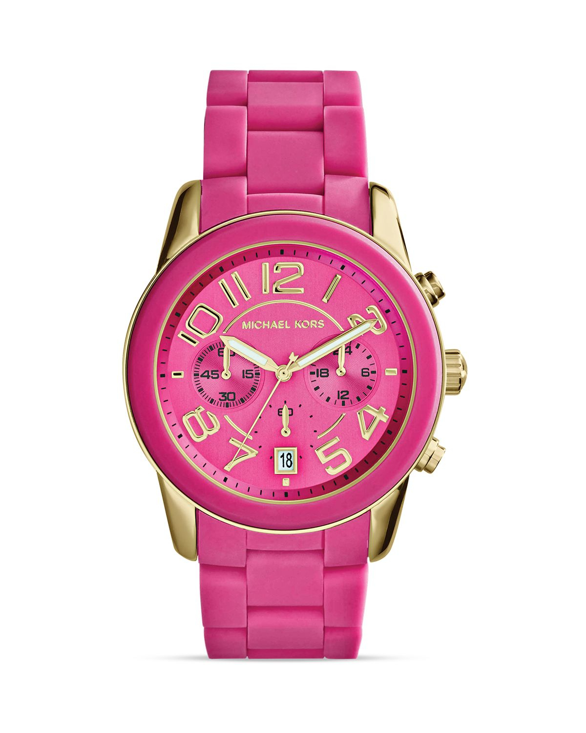 michael kors pink silicone and gold tone mercer