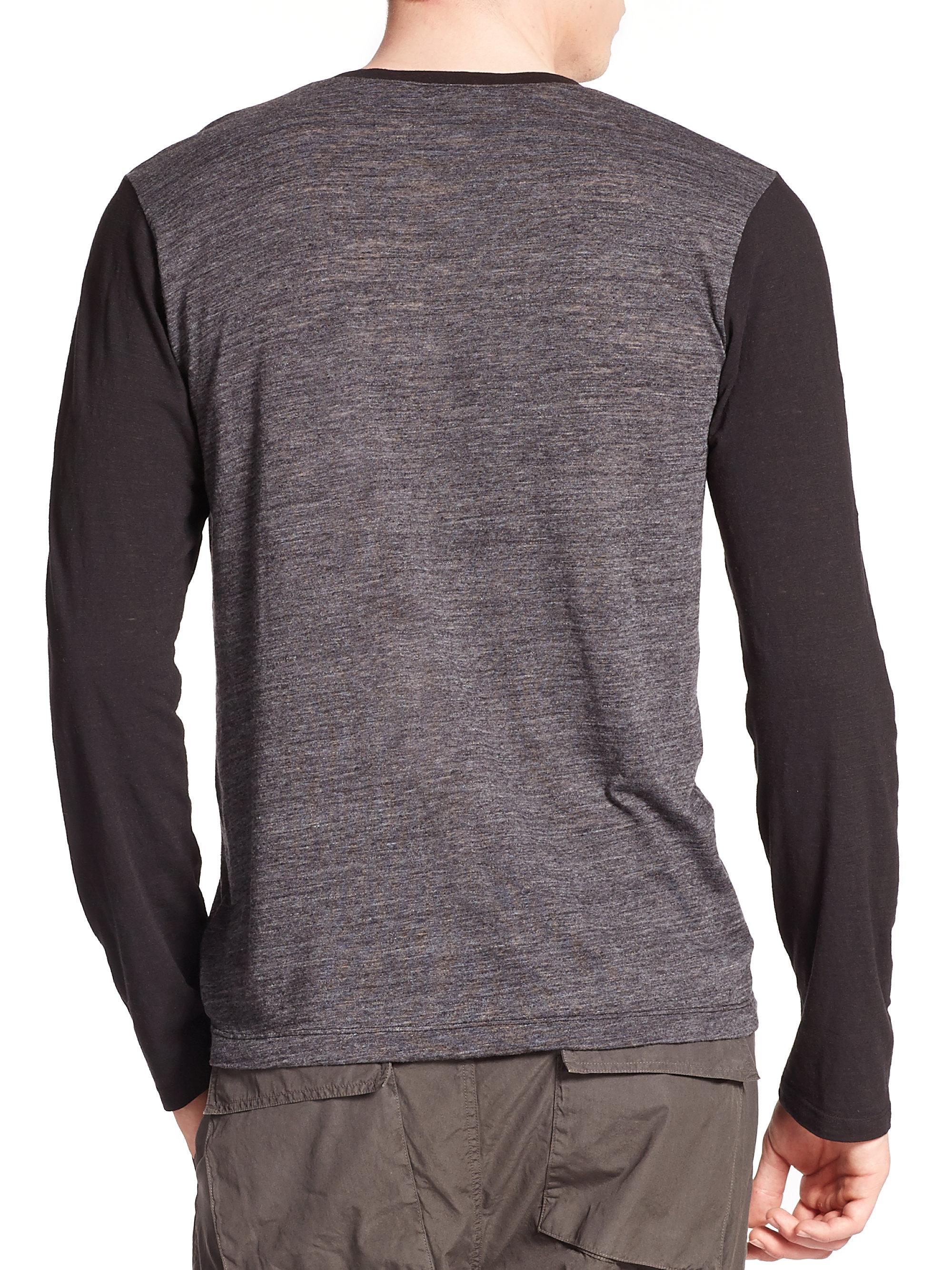 Splendid mills vintage henley long sleeve tee in black for for Black long sleeve henley shirt