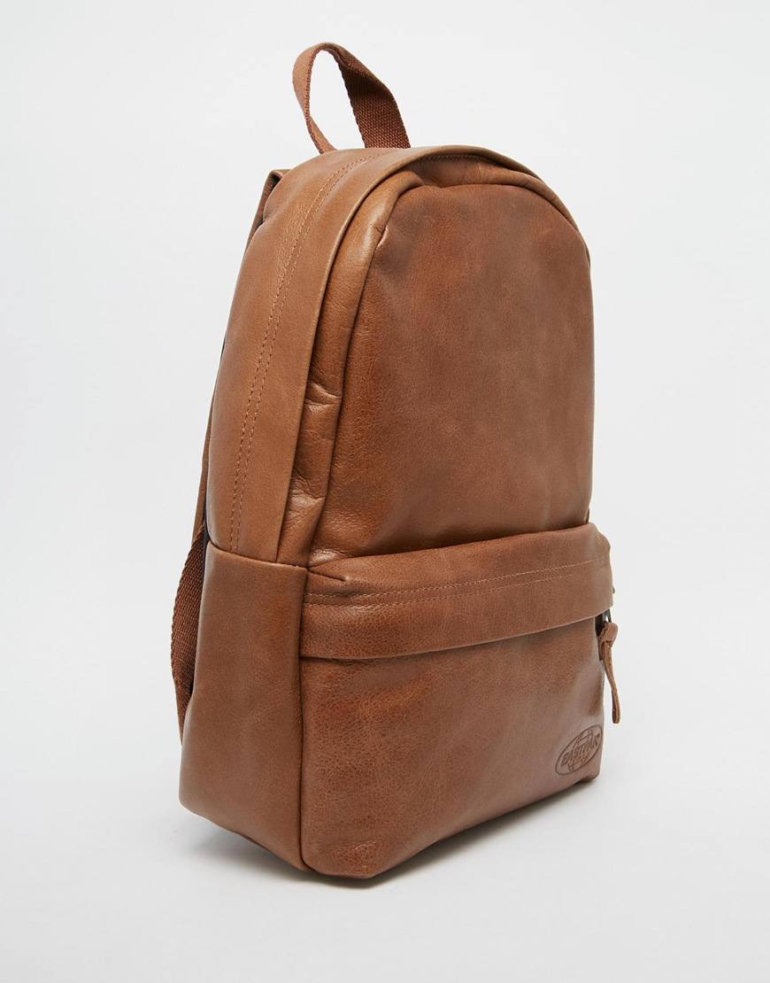 Eastpak Leather Backpack in Brown | Lyst