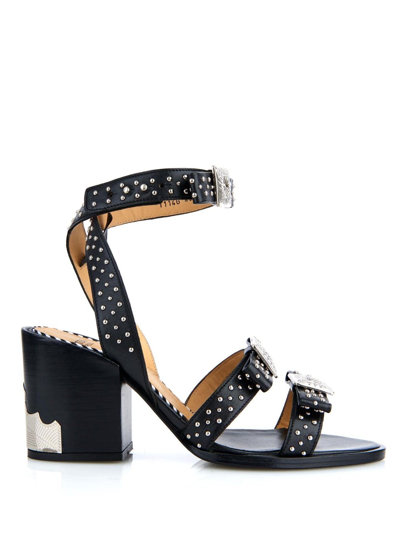 7f9a50736ea Toga Studded Leather Block-Heel Sandals in Black - Lyst
