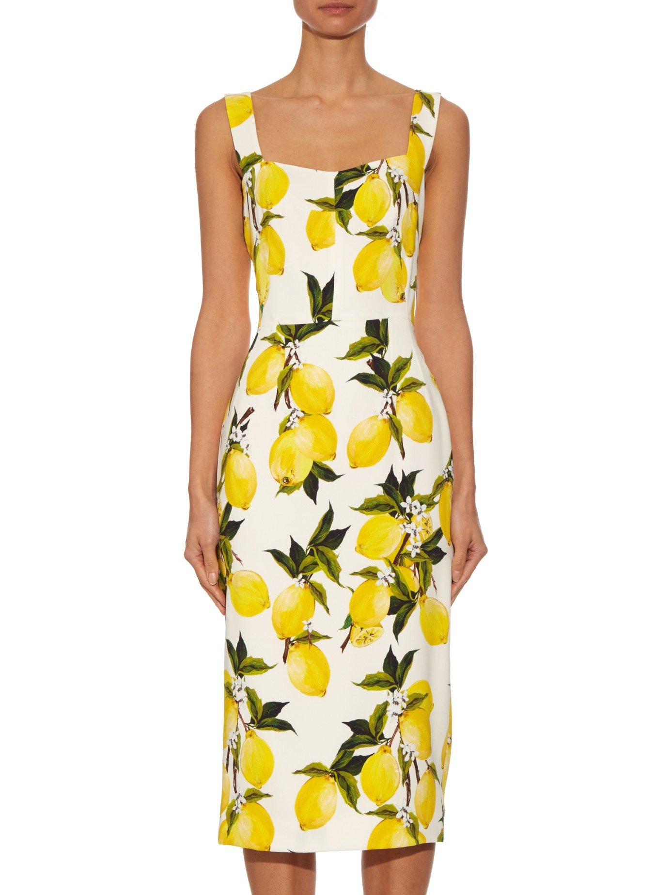 Dolce u0026 gabbana Lemon-print Crepe Dress in Yellow | Lyst
