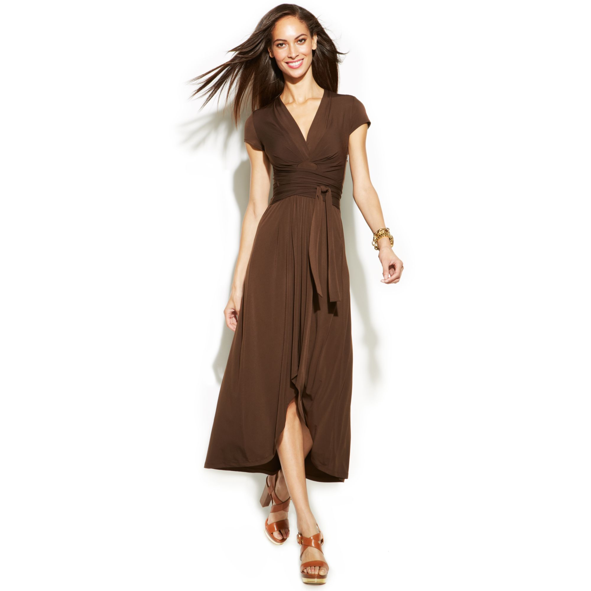 Lyst Michael Kors Michael Highlow Fauxwrap Dress In Brown