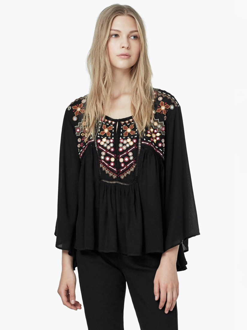 d39b149a2bb354 Mango Embroidered Boho Blouse in Metallic - Lyst