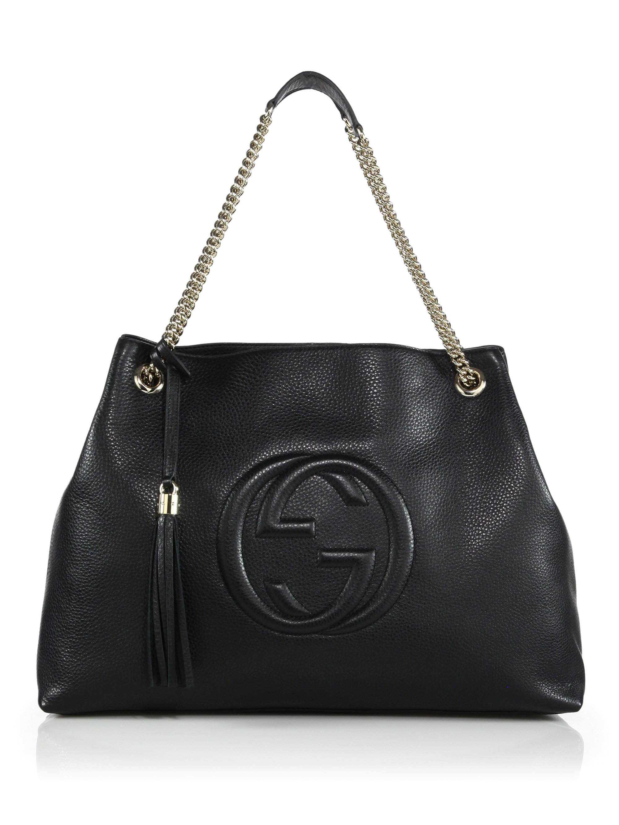 Lyst - Gucci Soho Leather Large Shoulder Bag in Black