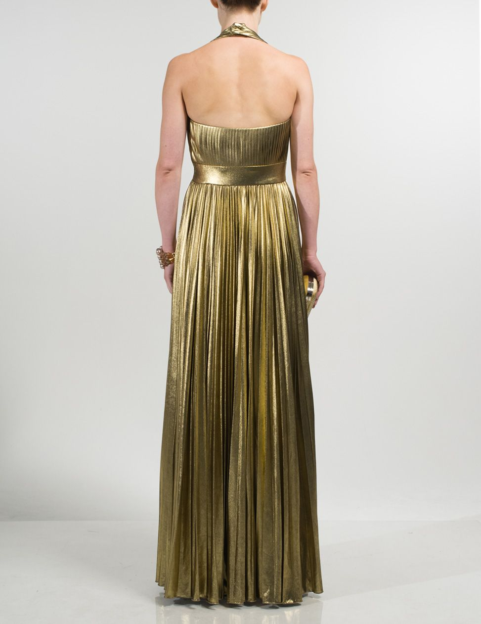 Gold halter neck maxi dress