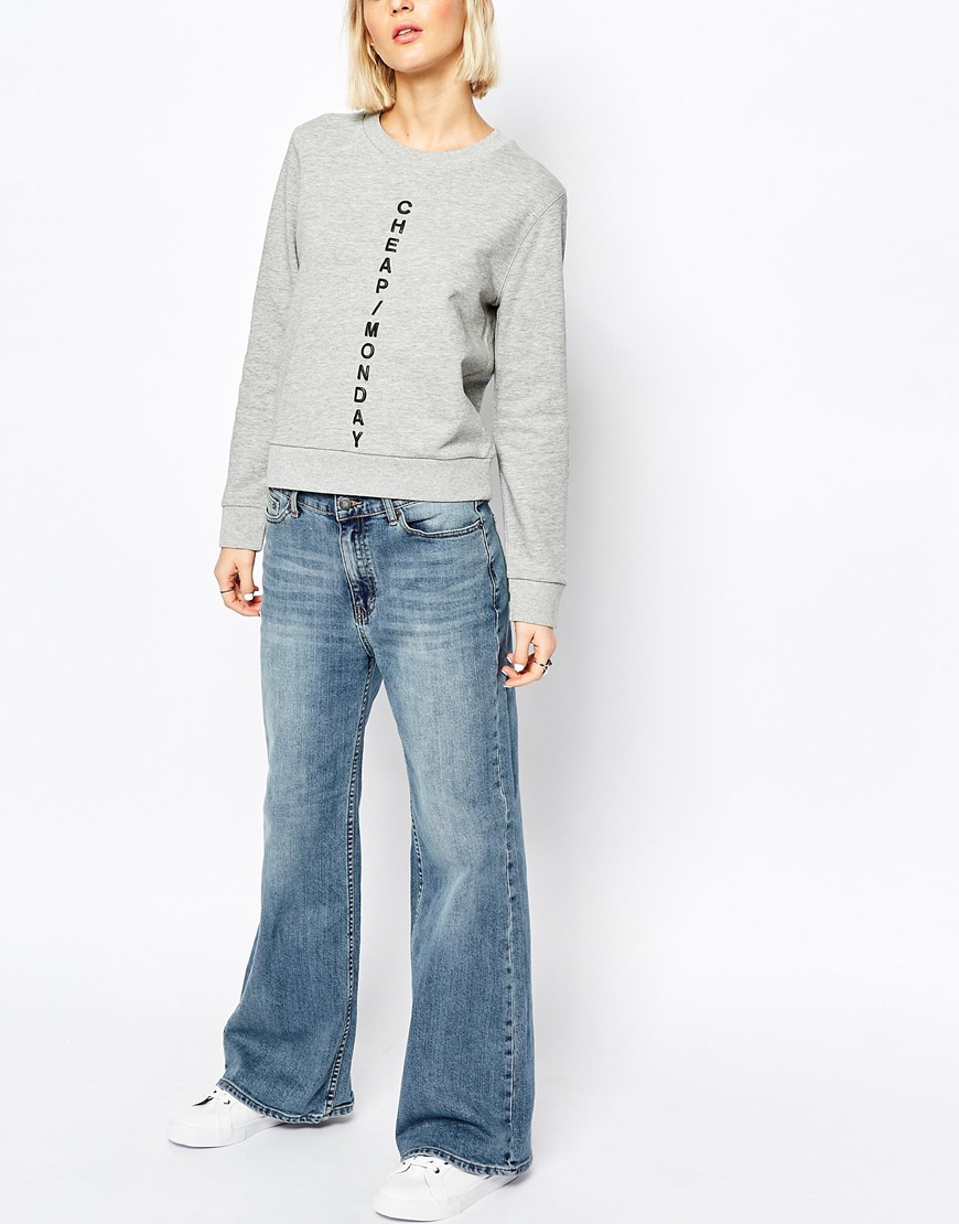 Cheap monday A Line Relaxed Slouch Flare in Blue   Lyst