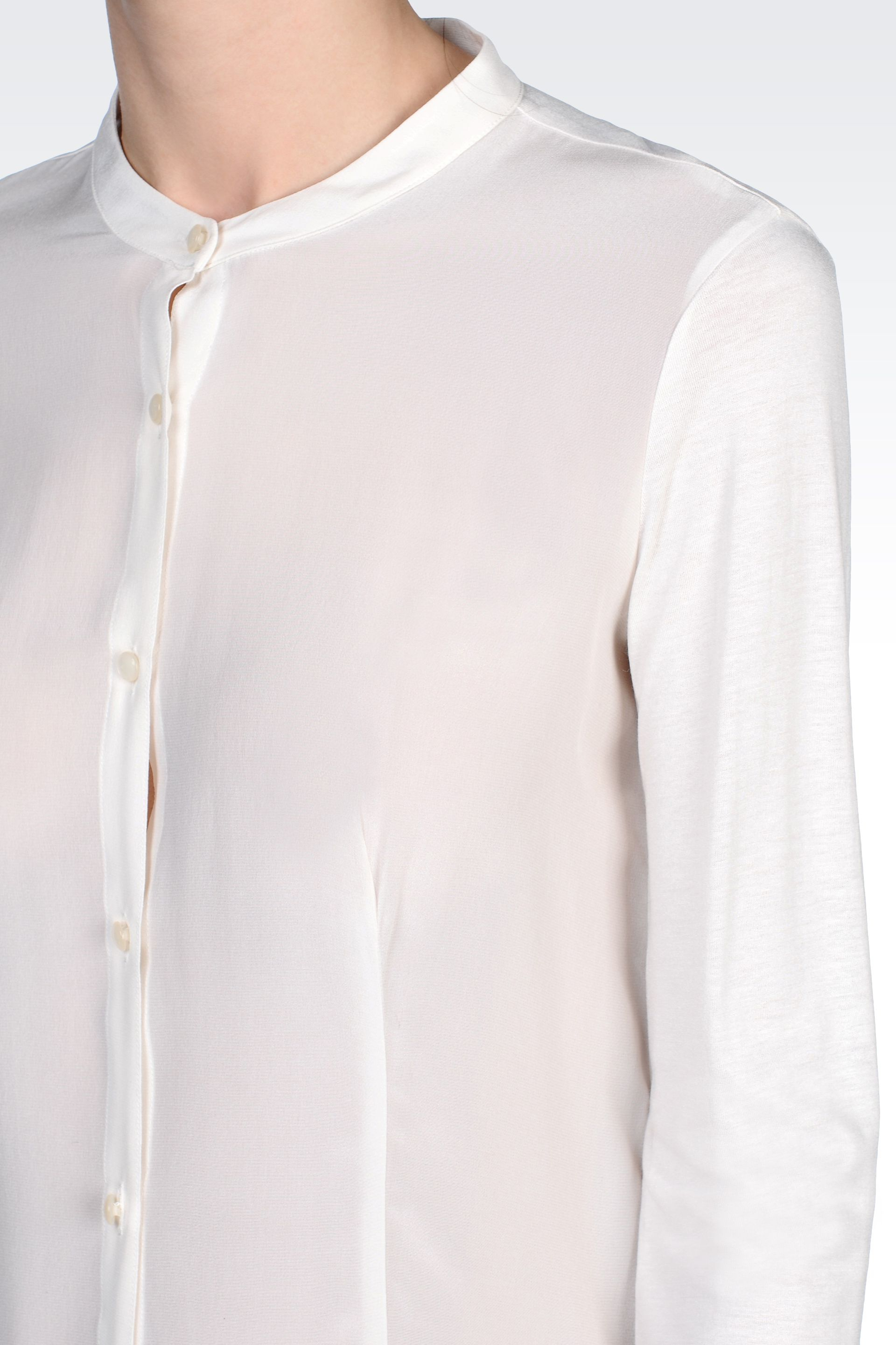 7869efe7f938b Lyst - Armani Jeans Crêpe Silk Shirt with Mandarin Collar in White
