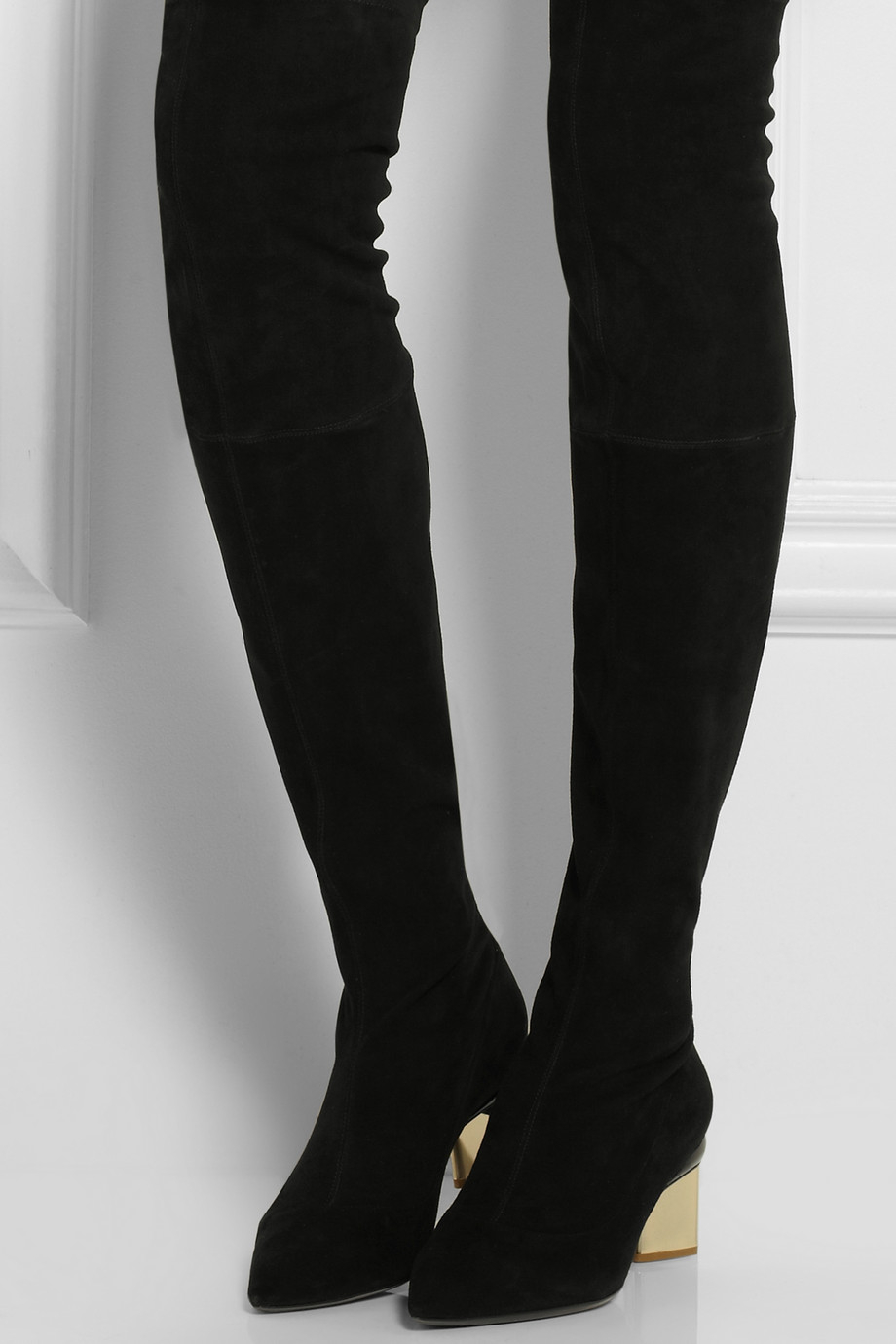 Nicholas kirkwood Stretch-Suede Over-The-Knee Boots in Black | Lyst