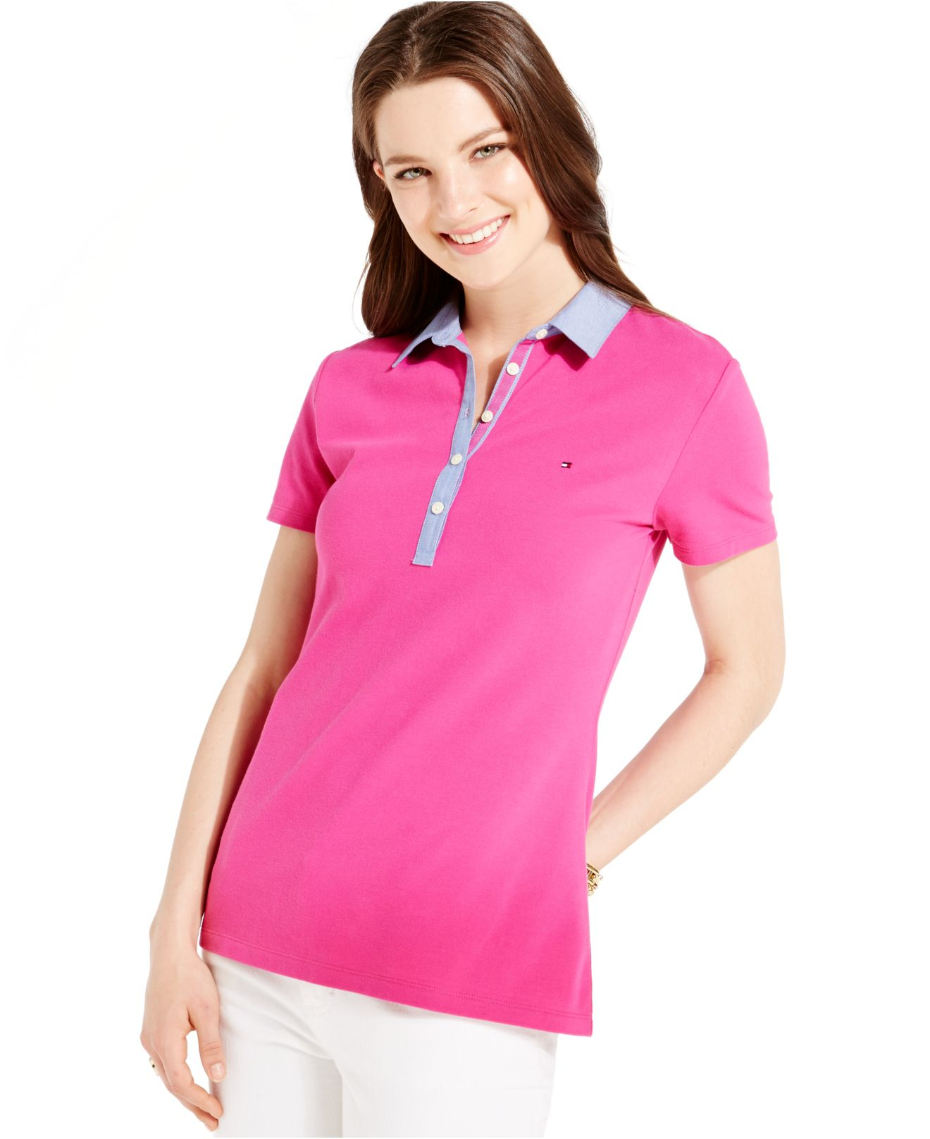 Tommy Hilfiger Chambray Collar Polo Shirt In Purple Lyst