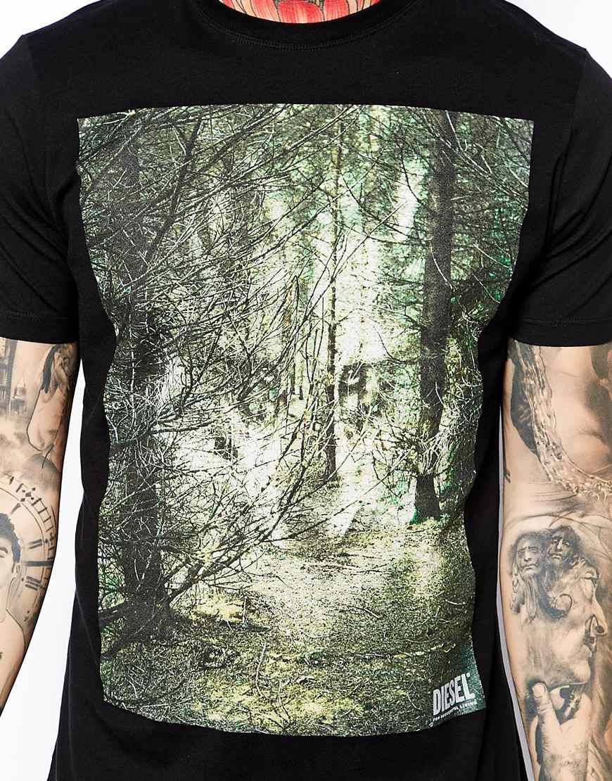Lyst Diesel T Shirt T Ebo With Woodland Wolf Print In