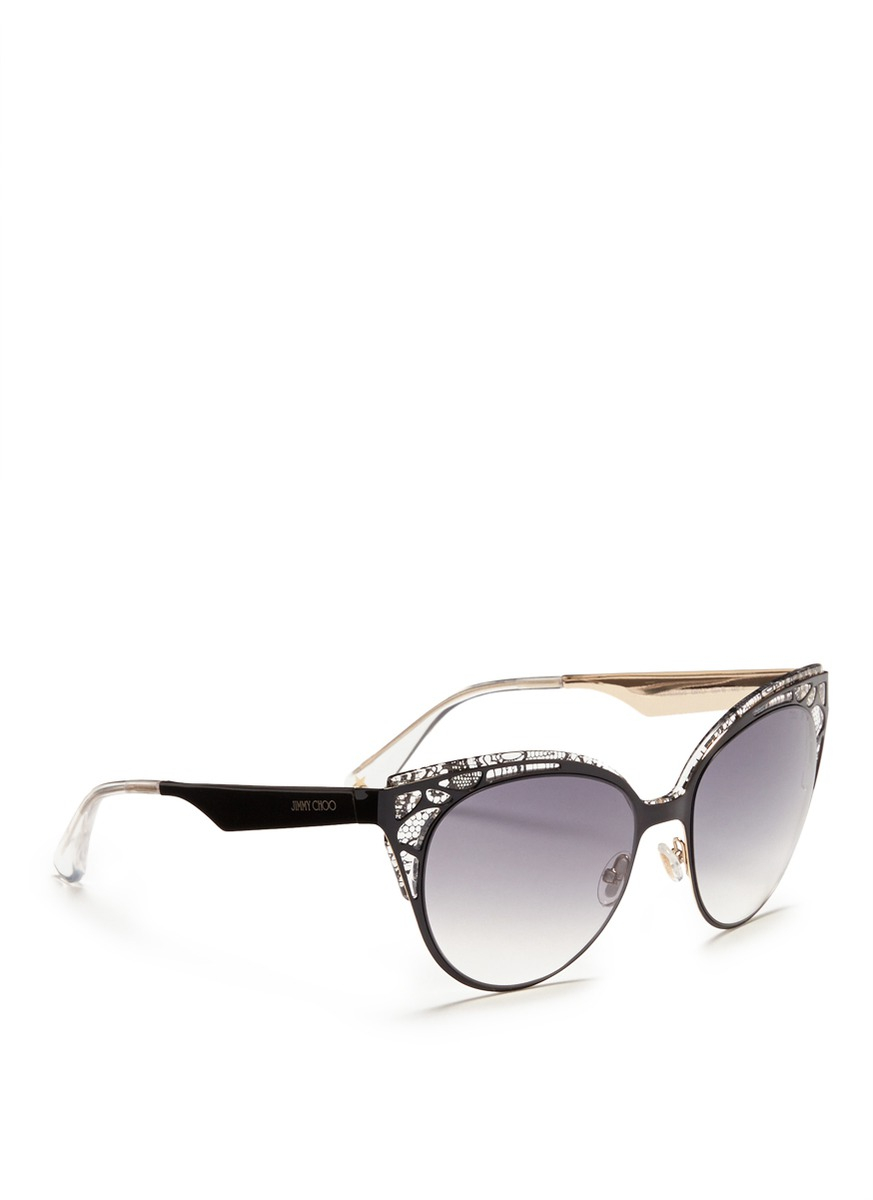 da7c7ffb359 Lyst - Jimmy Choo Estelle Lace-pattern Cat-eye Sunglasses in Black