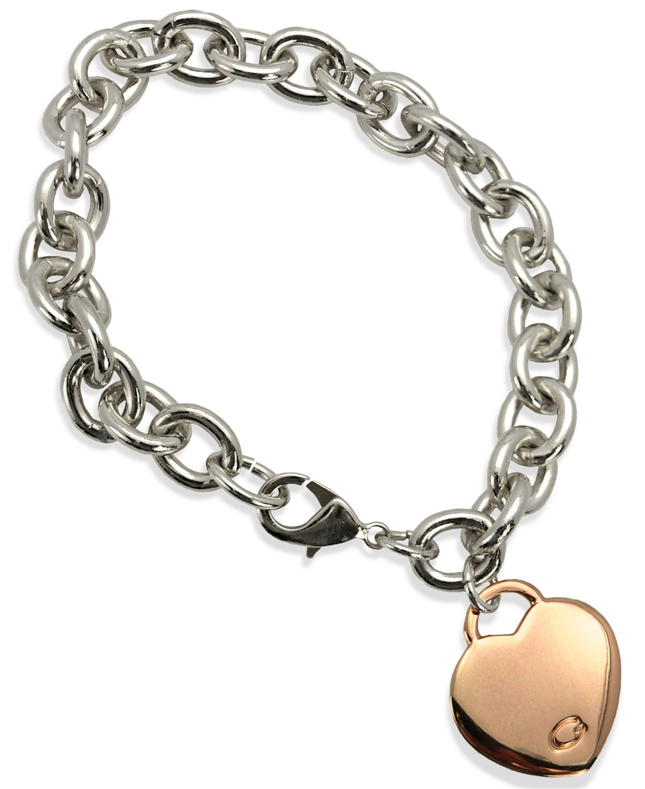 Lyst Guess Two Tone Heart Charm Link Bracelet In Pink