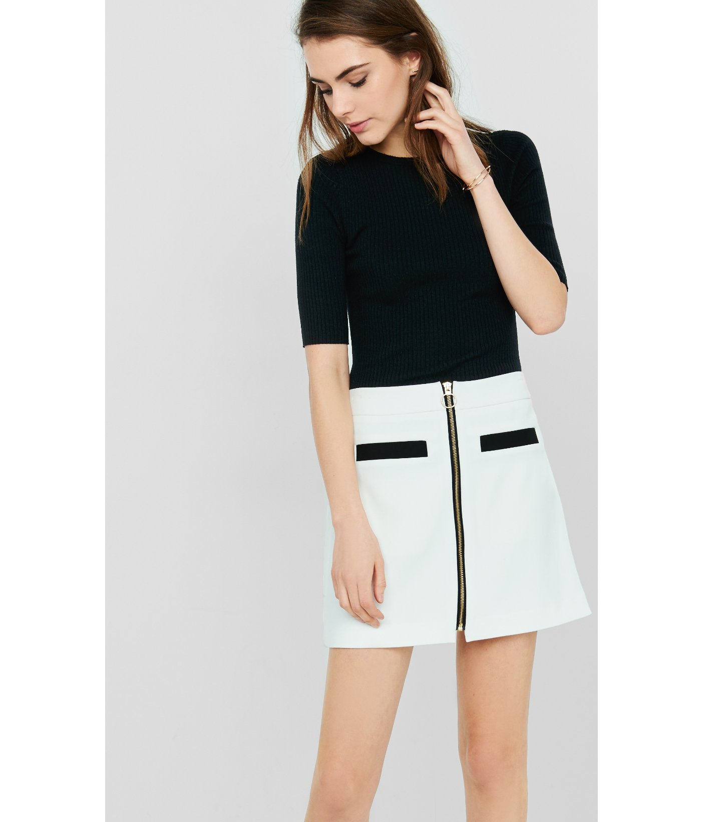 Express Color Block Zip Front A-line Skirt in White | Lyst