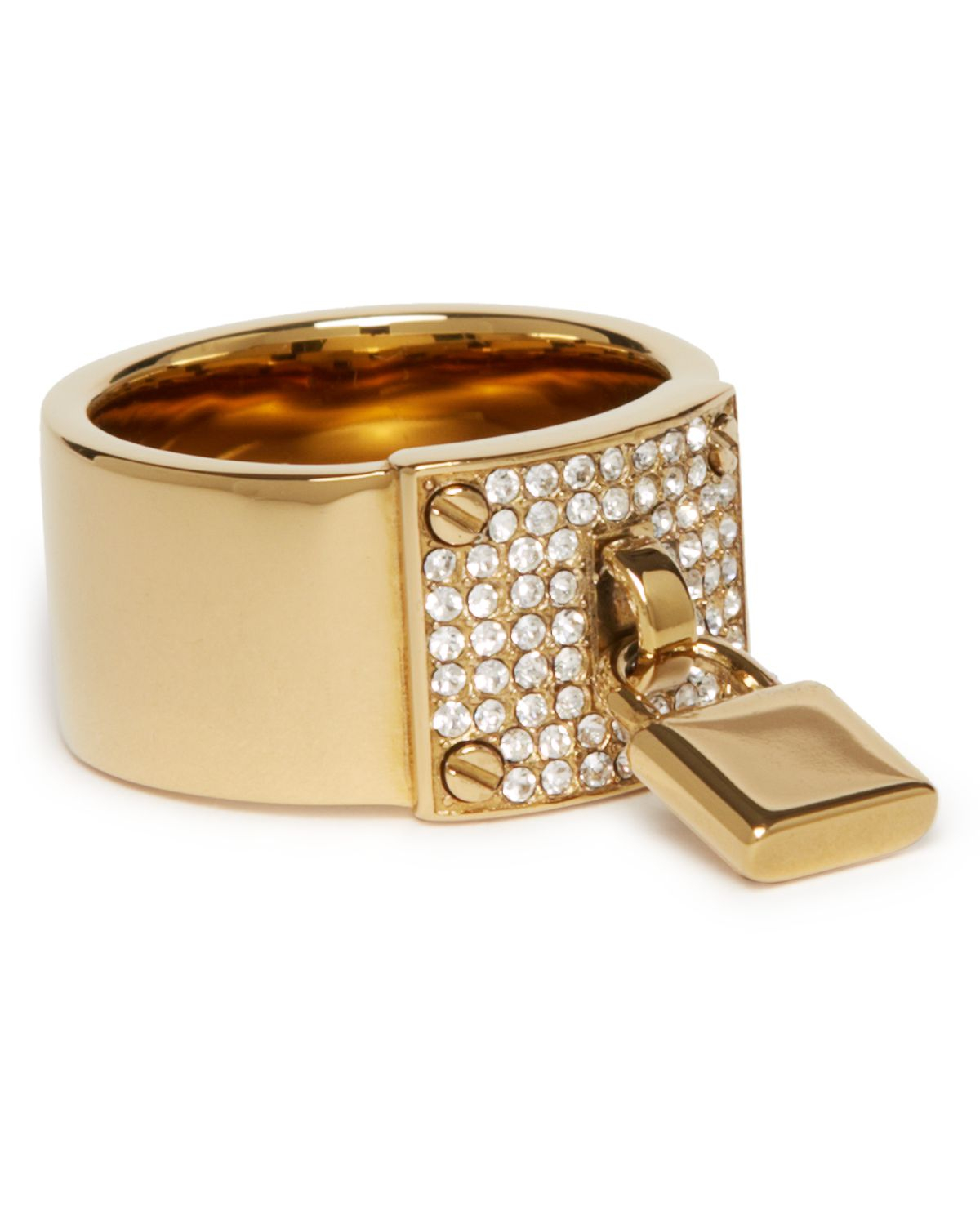 michael kors pave plaque ring with padlock charm in gold lyst. Black Bedroom Furniture Sets. Home Design Ideas