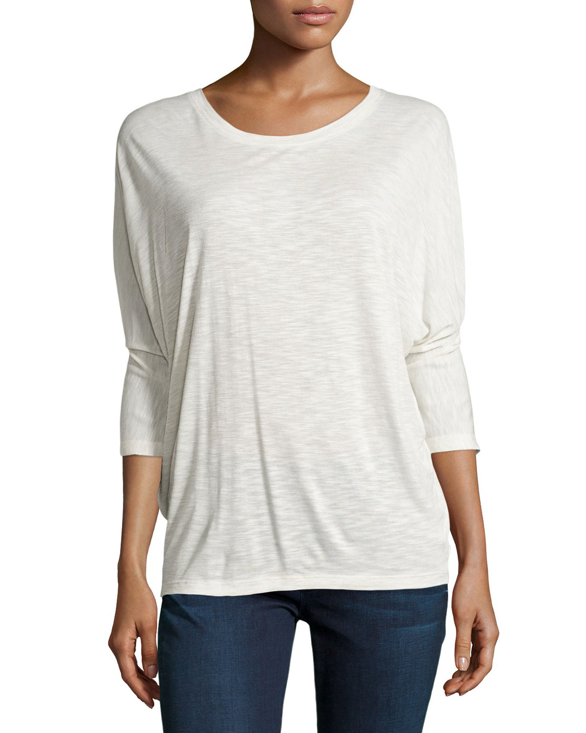 Lyst vince 3 4 sleeve dolman tee in white for Vince tee shirts sale